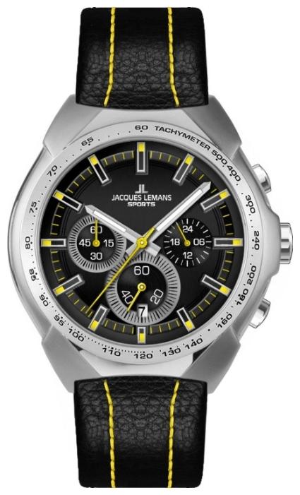 Jacques Lemans 1-1675E - мужские наручные часы из коллекции SportJacques Lemans<br><br><br>Бренд: Jacques Lemans<br>Модель: Jacques Lemans 1-1675E<br>Артикул: 1-1675E<br>Вариант артикула: None<br>Коллекция: Sport<br>Подколлекция: None<br>Страна: Австрия<br>Пол: мужские<br>Тип механизма: кварцевые<br>Механизм: None<br>Количество камней: None<br>Автоподзавод: None<br>Источник энергии: от батарейки<br>Срок службы элемента питания: None<br>Дисплей: стрелки<br>Цифры: отсутствуют<br>Водозащита: WR 10<br>Противоударные: None<br>Материал корпуса: нерж. сталь<br>Материал браслета: кожа (теленок)<br>Материал безеля: None<br>Стекло: Crystex<br>Антибликовое покрытие: None<br>Цвет корпуса: None<br>Цвет браслета: None<br>Цвет циферблата: None<br>Цвет безеля: None<br>Размеры: 45x11 мм<br>Диаметр: None<br>Диаметр корпуса: None<br>Толщина: None<br>Ширина ремешка: None<br>Вес: None<br>Спорт-функции: секундомер<br>Подсветка: стрелок<br>Вставка: None<br>Отображение даты: число<br>Хронограф: есть<br>Таймер: None<br>Термометр: None<br>Хронометр: None<br>GPS: None<br>Радиосинхронизация: None<br>Барометр: None<br>Скелетон: None<br>Дополнительная информация: None<br>Дополнительные функции: None