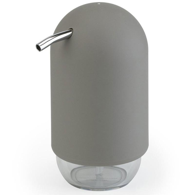 Диспенсер для мыла Umbra touch серый 023273-918Диспенсеры<br>Мыло душистое, полотенце пушистое - если мыть руки, то с этим слоганом. Потому что приятно пахнущее мыло, например, ванильное или земляничное, поднимает настроение. А если оно внутри красивого диспенсера, который поможет отмерить нужное количество, это вдвойне приятно. Те, кто покупает жидкое мыло, знают, что очень часто оно продается в некрасивых упаковках или очень больших бутылках, которые совершенно неудобно ставить на раковину. Проблема решена вот с таким лаконичным симпатичным диспенсером. Теперь вы не забудете вымыть руки перед едой! Обратите внимание на прозрачную нижнюю часть: благодаря ей вы сразу увидите, если мыло кончается, и сможете пополнить резервуар. Объем - 235 мл. p.s. Важная подсказка: диспенсер также можно использовать на кухне для моющего средства, получается очень экономно.<br>