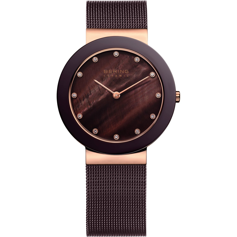 Bering 11435-262 - женские наручные часы из коллекции CeramicBering<br>rose gold, шоколадная керамика  , миланский браслет шоколадного цвета, сапфировое стекло<br><br>Бренд: Bering<br>Модель: Bering 11435-262<br>Артикул: 11435-262<br>Вариант артикула: ber-11435-262<br>Коллекция: Ceramic<br>Подколлекция: None<br>Страна: Дания<br>Пол: женские<br>Тип механизма: кварцевые<br>Механизм: Miyota<br>Количество камней: None<br>Автоподзавод: None<br>Источник энергии: от батарейки<br>Срок службы элемента питания: None<br>Дисплей: стрелки<br>Цифры: отсутствуют<br>Водозащита: WR 30<br>Противоударные: None<br>Материал корпуса: нерж. сталь + керамика, IP покрытие (частичное)<br>Материал браслета: нерж. сталь, IP покрытие (полное)<br>Материал безеля: керамика<br>Стекло: сапфировое<br>Антибликовое покрытие: None<br>Цвет корпуса: розовое золото<br>Цвет браслета: коричневый<br>Цвет циферблата: None<br>Цвет безеля: коричневый<br>Размеры: 34x6.5 мм<br>Диаметр: 35 мм<br>Диаметр корпуса: None<br>Толщина: None<br>Ширина ремешка: None<br>Вес: None<br>Спорт-функции: None<br>Подсветка: None<br>Вставка: кристаллы Swarovski<br>Отображение даты: None<br>Хронограф: None<br>Таймер: None<br>Термометр: None<br>Хронометр: None<br>GPS: None<br>Радиосинхронизация: None<br>Барометр: None<br>Скелетон: None<br>Дополнительная информация: None<br>Дополнительные функции: None