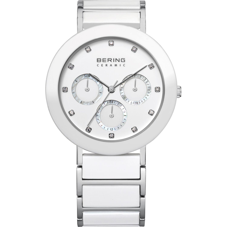 Bering 11438-754 - женские наручные часы из коллекции CeramicBering<br>multifunction, day/date/24 hour, белая керамика, сапфировое стекло<br><br>Бренд: Bering<br>Модель: Bering 11438-754<br>Артикул: 11438-754<br>Вариант артикула: ber-11438-754<br>Коллекция: Ceramic<br>Подколлекция: None<br>Страна: Дания<br>Пол: женские<br>Тип механизма: кварцевые<br>Механизм: None<br>Количество камней: None<br>Автоподзавод: None<br>Источник энергии: от батарейки<br>Срок службы элемента питания: None<br>Дисплей: стрелки<br>Цифры: отсутствуют<br>Водозащита: WR 50<br>Противоударные: None<br>Материал корпуса: нерж. сталь + керамика<br>Материал браслета: нерж. сталь + керамика<br>Материал безеля: керамика<br>Стекло: сапфировое<br>Антибликовое покрытие: None<br>Цвет корпуса: серебристый<br>Цвет браслета: серебрянный<br>Цвет циферблата: None<br>Цвет безеля: белый<br>Размеры: 38x8 мм<br>Диаметр: 38 мм<br>Диаметр корпуса: None<br>Толщина: None<br>Ширина ремешка: None<br>Вес: None<br>Спорт-функции: None<br>Подсветка: None<br>Вставка: кристаллы Swarovski<br>Отображение даты: число, день недели<br>Хронограф: None<br>Таймер: None<br>Термометр: None<br>Хронометр: None<br>GPS: None<br>Радиосинхронизация: None<br>Барометр: None<br>Скелетон: None<br>Дополнительная информация: None<br>Дополнительные функции: None
