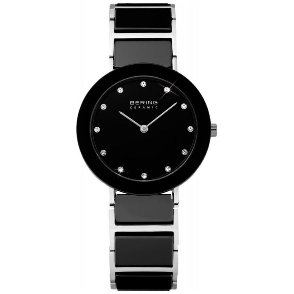 Bering 11429-742 - женские наручные часы из коллекции CeramicBering<br>женские, сапфировое стекло, корпус из нерж. стали с безелем из керамики черного цвета, браслет из нерж. стали со вставками из керамики черного цвета и 2-мя дополнительными звеньями в комплекте, циферблат черного цвета с 12-ю кристаллами  swarovski<br><br>Бренд: Bering<br>Модель: Bering 11429-742<br>Артикул: 11429-742<br>Вариант артикула: ber-11429-742<br>Коллекция: Ceramic<br>Подколлекция: None<br>Страна: Дания<br>Пол: женские<br>Тип механизма: кварцевые<br>Механизм: None<br>Количество камней: None<br>Автоподзавод: None<br>Источник энергии: от батарейки<br>Срок службы элемента питания: None<br>Дисплей: стрелки<br>Цифры: отсутствуют<br>Водозащита: WR 50<br>Противоударные: None<br>Материал корпуса: нерж. сталь + керамика<br>Материал браслета: нерж. сталь + керамика<br>Материал безеля: керамика<br>Стекло: сапфировое<br>Антибликовое покрытие: None<br>Цвет корпуса: серебристый<br>Цвет браслета: серебрянный<br>Цвет циферблата: None<br>Цвет безеля: черный<br>Размеры: 29 мм<br>Диаметр: 29 мм<br>Диаметр корпуса: None<br>Толщина: None<br>Ширина ремешка: None<br>Вес: None<br>Спорт-функции: None<br>Подсветка: None<br>Вставка: кристаллы Swarovski<br>Отображение даты: None<br>Хронограф: None<br>Таймер: None<br>Термометр: None<br>Хронометр: None<br>GPS: None<br>Радиосинхронизация: None<br>Барометр: None<br>Скелетон: None<br>Дополнительная информация: None<br>Дополнительные функции: None