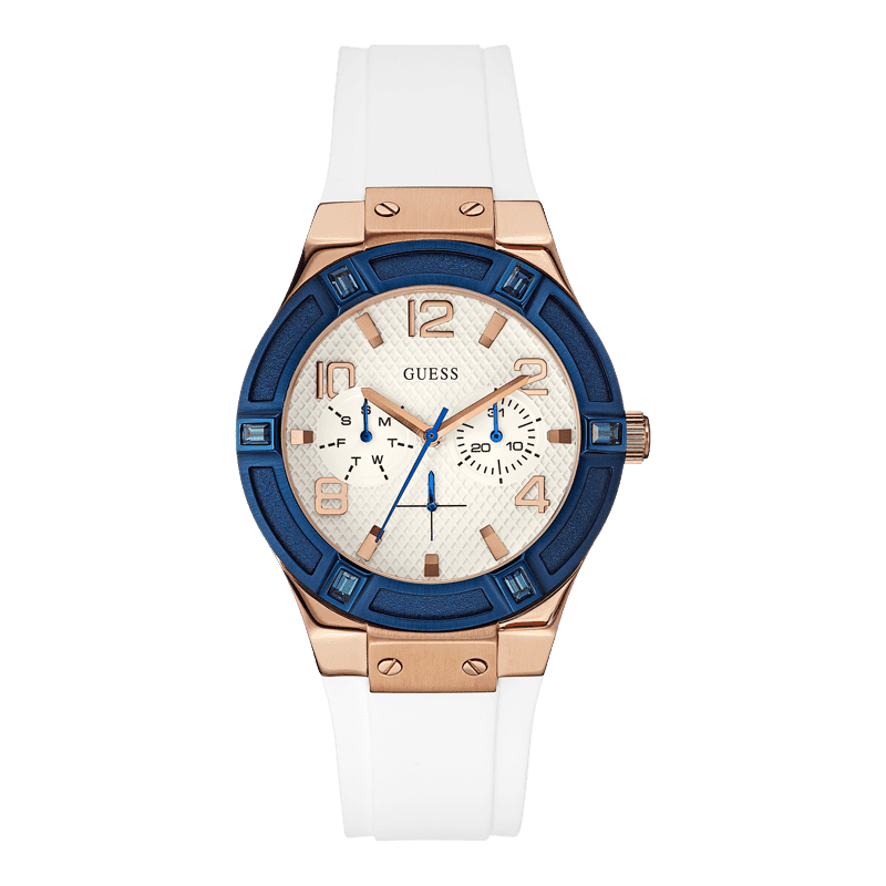 GUESS W0564L1 - женские наручные часы из коллекции IconicGUESS<br><br><br>Бренд: GUESS<br>Модель: GUESS W0564L1<br>Артикул: W0564L1<br>Вариант артикула: None<br>Коллекция: Iconic<br>Подколлекция: None<br>Страна: США<br>Пол: женские<br>Тип механизма: кварцевые<br>Механизм: None<br>Количество камней: None<br>Автоподзавод: None<br>Источник энергии: от батарейки<br>Срок службы элемента питания: None<br>Дисплей: стрелки<br>Цифры: арабские<br>Водозащита: WR 50<br>Противоударные: None<br>Материал корпуса: нерж. сталь, IP покрытие: позолота (частичное)<br>Материал браслета: силикон<br>Материал безеля: None<br>Стекло: минеральное<br>Антибликовое покрытие: None<br>Цвет корпуса: розовое золото<br>Цвет браслета: белый<br>Цвет циферблата: белый<br>Цвет безеля: None<br>Размеры: 39x11 мм<br>Диаметр: None<br>Диаметр корпуса: None<br>Толщина: None<br>Ширина ремешка: None<br>Вес: None<br>Спорт-функции: None<br>Подсветка: None<br>Вставка: None<br>Отображение даты: число, день недели<br>Хронограф: None<br>Таймер: None<br>Термометр: None<br>Хронометр: None<br>GPS: None<br>Радиосинхронизация: None<br>Барометр: None<br>Скелетон: None<br>Дополнительная информация: None<br>Дополнительные функции: None