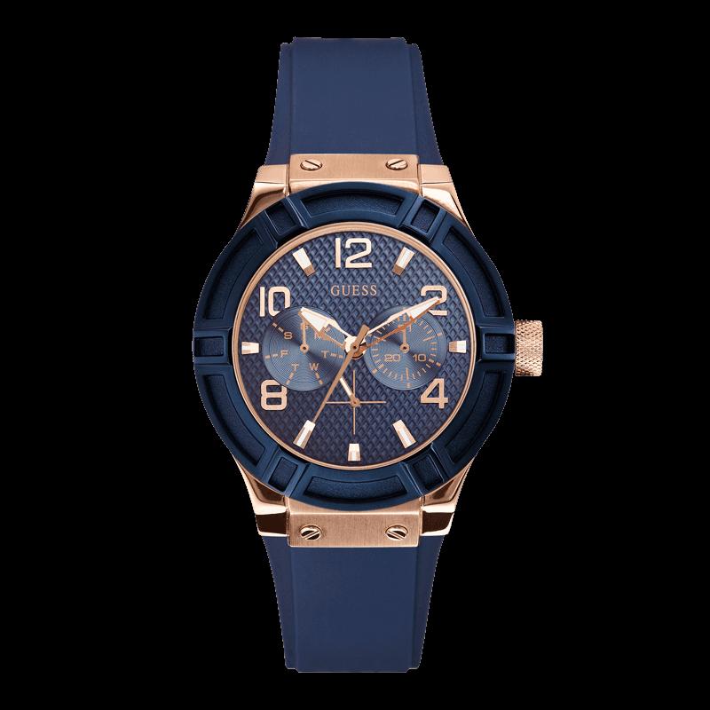 GUESS W0571L1 - женские наручные часы из коллекции IconicGUESS<br><br><br>Бренд: GUESS<br>Модель: GUESS W0571L1<br>Артикул: W0571L1<br>Вариант артикула: None<br>Коллекция: Iconic<br>Подколлекция: None<br>Страна: США<br>Пол: женские<br>Тип механизма: кварцевые<br>Механизм: Miyota<br>Количество камней: None<br>Автоподзавод: None<br>Источник энергии: от батарейки<br>Срок службы элемента питания: None<br>Дисплей: стрелки<br>Цифры: арабские<br>Водозащита: WR 100<br>Противоударные: None<br>Материал корпуса: нерж. сталь, PVD покрытие: позолота (частичное)<br>Материал браслета: каучук<br>Материал безеля: None<br>Стекло: минеральное<br>Антибликовое покрытие: None<br>Цвет корпуса: розовое золото/синий<br>Цвет браслета: синий<br>Цвет циферблата: синий<br>Цвет безеля: None<br>Размеры: 39 мм<br>Диаметр: None<br>Диаметр корпуса: None<br>Толщина: None<br>Ширина ремешка: None<br>Вес: None<br>Спорт-функции: None<br>Подсветка: стрелок<br>Вставка: None<br>Отображение даты: число, день недели<br>Хронограф: None<br>Таймер: None<br>Термометр: None<br>Хронометр: None<br>GPS: None<br>Радиосинхронизация: None<br>Барометр: None<br>Скелетон: None<br>Дополнительная информация: None<br>Дополнительные функции: None