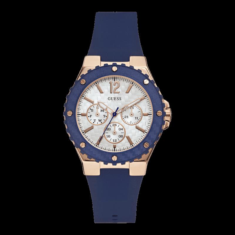GUESS W0149L5 - женские наручные часы из коллекции IconicGUESS<br><br><br>Бренд: GUESS<br>Модель: GUESS W0149L5<br>Артикул: W0149L5<br>Вариант артикула: None<br>Коллекция: Iconic<br>Подколлекция: None<br>Страна: США<br>Пол: женские<br>Тип механизма: кварцевые<br>Механизм: Miyota<br>Количество камней: None<br>Автоподзавод: None<br>Источник энергии: от батарейки<br>Срок службы элемента питания: None<br>Дисплей: стрелки<br>Цифры: арабские<br>Водозащита: WR 50<br>Противоударные: None<br>Материал корпуса: нерж. сталь, PVD покрытие: позолота (частичное)<br>Материал браслета: каучук<br>Материал безеля: None<br>Стекло: минеральное<br>Антибликовое покрытие: None<br>Цвет корпуса: розовое золото<br>Цвет браслета: синий<br>Цвет циферблата: серебро<br>Цвет безеля: None<br>Размеры: 39 мм<br>Диаметр: None<br>Диаметр корпуса: None<br>Толщина: None<br>Ширина ремешка: None<br>Вес: None<br>Спорт-функции: None<br>Подсветка: стрелок<br>Вставка: None<br>Отображение даты: число, день недели<br>Хронограф: None<br>Таймер: None<br>Термометр: None<br>Хронометр: None<br>GPS: None<br>Радиосинхронизация: None<br>Барометр: None<br>Скелетон: None<br>Дополнительная информация: None<br>Дополнительные функции: None