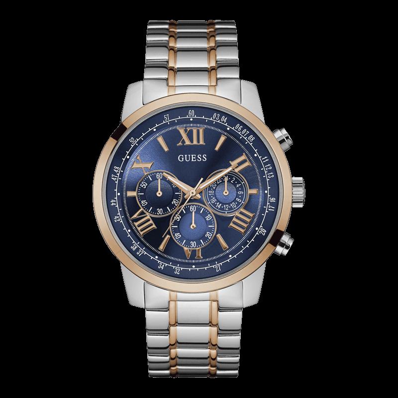 GUESS W0379G7 - мужские наручные часы из коллекции IconicGUESS<br><br><br>Бренд: GUESS<br>Модель: GUESS W0379G7<br>Артикул: W0379G7<br>Вариант артикула: None<br>Коллекция: Iconic<br>Подколлекция: None<br>Страна: США<br>Пол: мужские<br>Тип механизма: кварцевые<br>Механизм: None<br>Количество камней: None<br>Автоподзавод: None<br>Источник энергии: от батарейки<br>Срок службы элемента питания: None<br>Дисплей: стрелки<br>Цифры: римские<br>Водозащита: WR 50<br>Противоударные: None<br>Материал корпуса: нерж. сталь, IP покрытие (частичное)<br>Материал браслета: нерж. сталь, IP покрытие (частичное)<br>Материал безеля: None<br>Стекло: минеральное<br>Антибликовое покрытие: None<br>Цвет корпуса: серебро<br>Цвет браслета: None<br>Цвет циферблата: синий<br>Цвет безеля: None<br>Размеры: None<br>Диаметр: None<br>Диаметр корпуса: 45<br>Толщина: None<br>Ширина ремешка: None<br>Вес: None<br>Спорт-функции: секундомер<br>Подсветка: стрелок<br>Вставка: None<br>Отображение даты: None<br>Хронограф: есть<br>Таймер: None<br>Термометр: None<br>Хронометр: None<br>GPS: None<br>Радиосинхронизация: None<br>Барометр: None<br>Скелетон: None<br>Дополнительная информация: None<br>Дополнительные функции: None