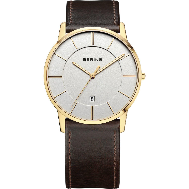 Bering 13139-539 - мужские наручные часы из коллекции ClassicBering<br>мужские, классические,  сапфировое стекло, дата<br><br>Бренд: Bering<br>Модель: Bering 13139-539<br>Артикул: 13139-539<br>Вариант артикула: ber-13139-539<br>Коллекция: Classic<br>Подколлекция: None<br>Страна: Дания<br>Пол: мужские<br>Тип механизма: кварцевые<br>Механизм: None<br>Количество камней: None<br>Автоподзавод: есть<br>Источник энергии: от батарейки<br>Срок службы элемента питания: None<br>Дисплей: стрелки<br>Цифры: отсутствуют<br>Водозащита: WR 50<br>Противоударные: None<br>Материал корпуса: нерж. сталь, IP покрытие: позолота (полное)<br>Материал браслета: кожа (не указан)<br>Материал безеля: None<br>Стекло: сапфировое<br>Антибликовое покрытие: None<br>Цвет корпуса: золотой<br>Цвет браслета: коричневый<br>Цвет циферблата: None<br>Цвет безеля: None<br>Размеры: 39 мм<br>Диаметр: 39 мм<br>Диаметр корпуса: None<br>Толщина: None<br>Ширина ремешка: None<br>Вес: None<br>Спорт-функции: None<br>Подсветка: стрелок<br>Вставка: None<br>Отображение даты: число<br>Хронограф: None<br>Таймер: None<br>Термометр: None<br>Хронометр: None<br>GPS: None<br>Радиосинхронизация: None<br>Барометр: None<br>Скелетон: None<br>Дополнительная информация: None<br>Дополнительные функции: None