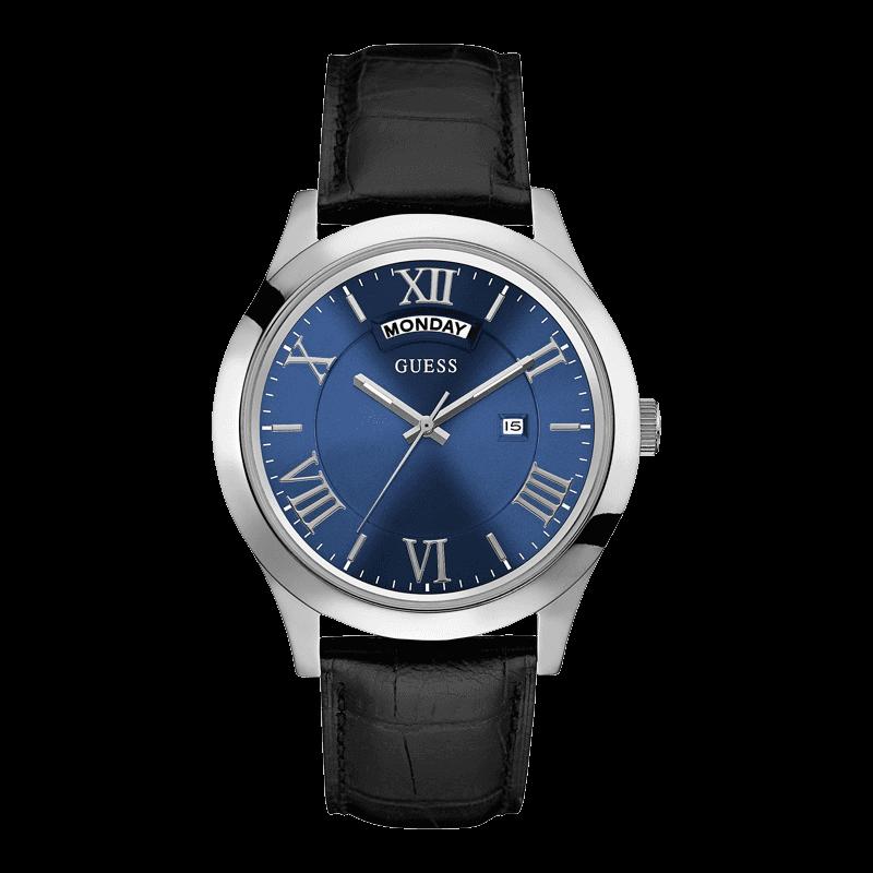 GUESS W0792G1 - мужские наручные часы из коллекции IconicGUESS<br><br><br>Бренд: GUESS<br>Модель: GUESS W0792G1<br>Артикул: W0792G1<br>Вариант артикула: None<br>Коллекция: Iconic<br>Подколлекция: None<br>Страна: США<br>Пол: мужские<br>Тип механизма: кварцевые<br>Механизм: None<br>Количество камней: None<br>Автоподзавод: None<br>Источник энергии: от батарейки<br>Срок службы элемента питания: None<br>Дисплей: стрелки<br>Цифры: римские<br>Водозащита: WR 50<br>Противоударные: None<br>Материал корпуса: нерж. сталь<br>Материал браслета: кожа<br>Материал безеля: None<br>Стекло: минеральное<br>Антибликовое покрытие: None<br>Цвет корпуса: серебро<br>Цвет браслета: черный<br>Цвет циферблата: синий<br>Цвет безеля: None<br>Размеры: 44 мм<br>Диаметр: None<br>Диаметр корпуса: None<br>Толщина: None<br>Ширина ремешка: None<br>Вес: None<br>Спорт-функции: None<br>Подсветка: стрелок<br>Вставка: None<br>Отображение даты: число, день недели<br>Хронограф: None<br>Таймер: None<br>Термометр: None<br>Хронометр: None<br>GPS: None<br>Радиосинхронизация: None<br>Барометр: None<br>Скелетон: None<br>Дополнительная информация: None<br>Дополнительные функции: None