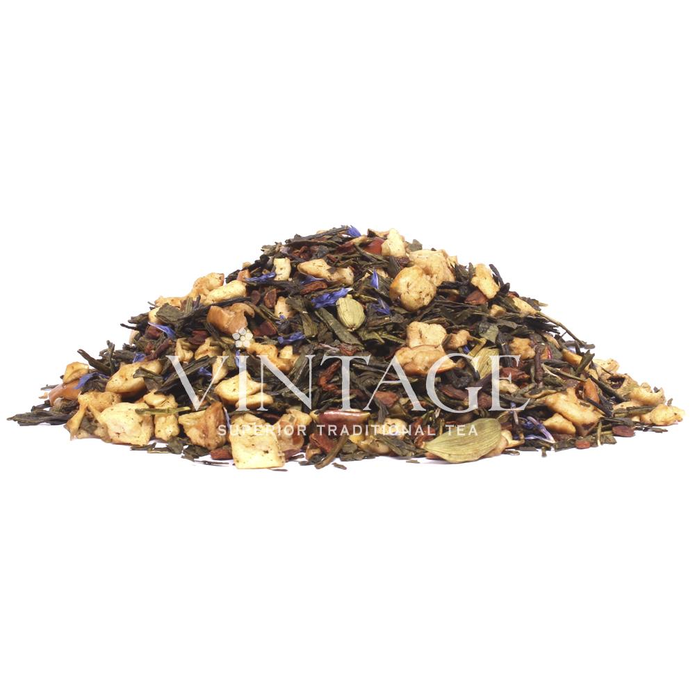 Коричное яблочко (чай зеленый байховый ароматизированный листовой)Весовой чай<br>Коричное яблочко (чай зеленый байховый ароматизированный листовой)<br><br><br><br><br><br><br><br><br><br>Время заваривания<br>Температура заваривания<br>Количество заварки<br><br><br><br>Рекомендуемое время заваривания 3-4мин.<br><br><br>Рекомендуемая температура заваривания 75-85 °С<br><br><br>Рекомендуемое количество заварки 4-5гр из расчета на 200-300мл.<br><br><br><br><br><br>Состав: китайский зеленый чай Сенча, сушеные яблоки, корица, кардамон, василек синий.<br>Описание:зеленый чай сенча, сушеные яблоки, корица, кардамон, василек синий – преобладает аромат яблок и корицы, оттененный сладковато-терпким вкусом сенчи.<br>