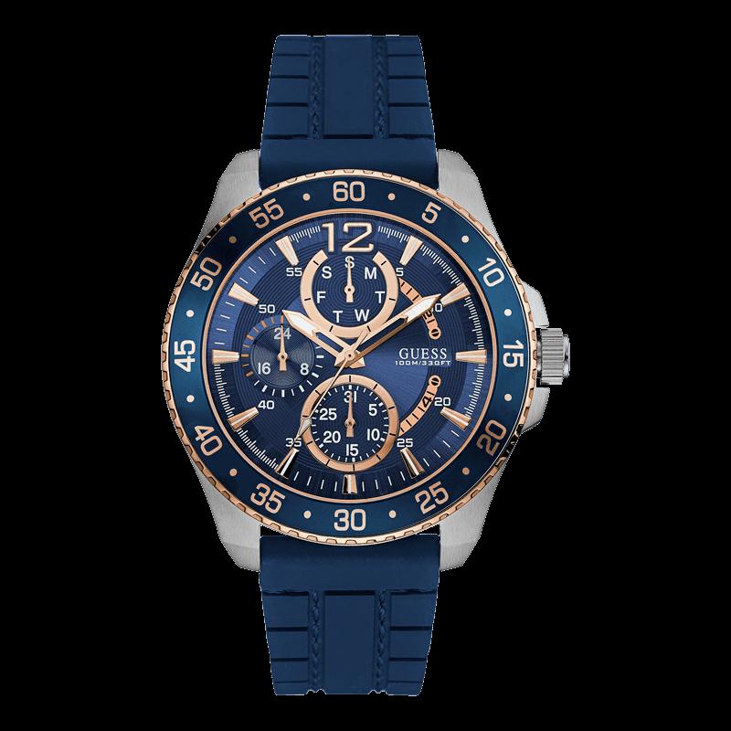 GUESS W0798G2 - мужские наручные часы из коллекции IconicGUESS<br><br><br>Бренд: GUESS<br>Модель: GUESS W0798G2<br>Артикул: W0798G2<br>Вариант артикула: None<br>Коллекция: Iconic<br>Подколлекция: None<br>Страна: США<br>Пол: мужские<br>Тип механизма: кварцевые<br>Механизм: None<br>Количество камней: None<br>Автоподзавод: None<br>Источник энергии: от батарейки<br>Срок службы элемента питания: None<br>Дисплей: стрелки<br>Цифры: арабские<br>Водозащита: WR 100<br>Противоударные: None<br>Материал корпуса: нерж. сталь, частичное покрытие корпуса<br>Материал браслета: силикон<br>Материал безеля: None<br>Стекло: минеральное<br>Антибликовое покрытие: None<br>Цвет корпуса: серебро/розовое золото<br>Цвет браслета: синий<br>Цвет циферблата: синий<br>Цвет безеля: None<br>Размеры: 46x12 мм<br>Диаметр: None<br>Диаметр корпуса: None<br>Толщина: None<br>Ширина ремешка: None<br>Вес: None<br>Спорт-функции: None<br>Подсветка: стрелок<br>Вставка: None<br>Отображение даты: число, день недели<br>Хронограф: None<br>Таймер: None<br>Термометр: None<br>Хронометр: None<br>GPS: None<br>Радиосинхронизация: None<br>Барометр: None<br>Скелетон: None<br>Дополнительная информация: None<br>Дополнительные функции: None