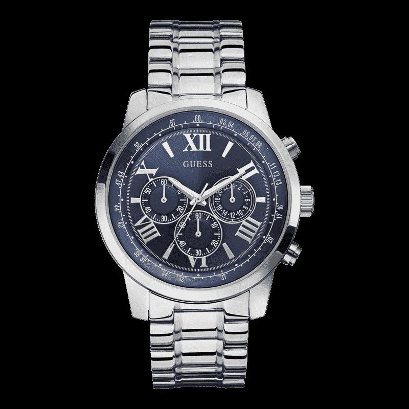 GUESS W0379G3 - мужские наручные часы из коллекции IconicGUESS<br><br><br>Бренд: GUESS<br>Модель: GUESS W0379G3<br>Артикул: W0379G3<br>Вариант артикула: None<br>Коллекция: Iconic<br>Подколлекция: None<br>Страна: США<br>Пол: мужские<br>Тип механизма: кварцевые<br>Механизм: None<br>Количество камней: None<br>Автоподзавод: None<br>Источник энергии: от батарейки<br>Срок службы элемента питания: None<br>Дисплей: стрелки<br>Цифры: римские<br>Водозащита: WR 100<br>Противоударные: None<br>Материал корпуса: нерж. сталь<br>Материал браслета: нерж. сталь<br>Материал безеля: None<br>Стекло: минеральное<br>Антибликовое покрытие: None<br>Цвет корпуса: серебро<br>Цвет браслета: серебро<br>Цвет циферблата: синий<br>Цвет безеля: None<br>Размеры: 45x11 мм<br>Диаметр: None<br>Диаметр корпуса: None<br>Толщина: None<br>Ширина ремешка: None<br>Вес: None<br>Спорт-функции: секундомер<br>Подсветка: стрелок<br>Вставка: None<br>Отображение даты: None<br>Хронограф: есть<br>Таймер: None<br>Термометр: None<br>Хронометр: None<br>GPS: None<br>Радиосинхронизация: None<br>Барометр: None<br>Скелетон: None<br>Дополнительная информация: None<br>Дополнительные функции: None