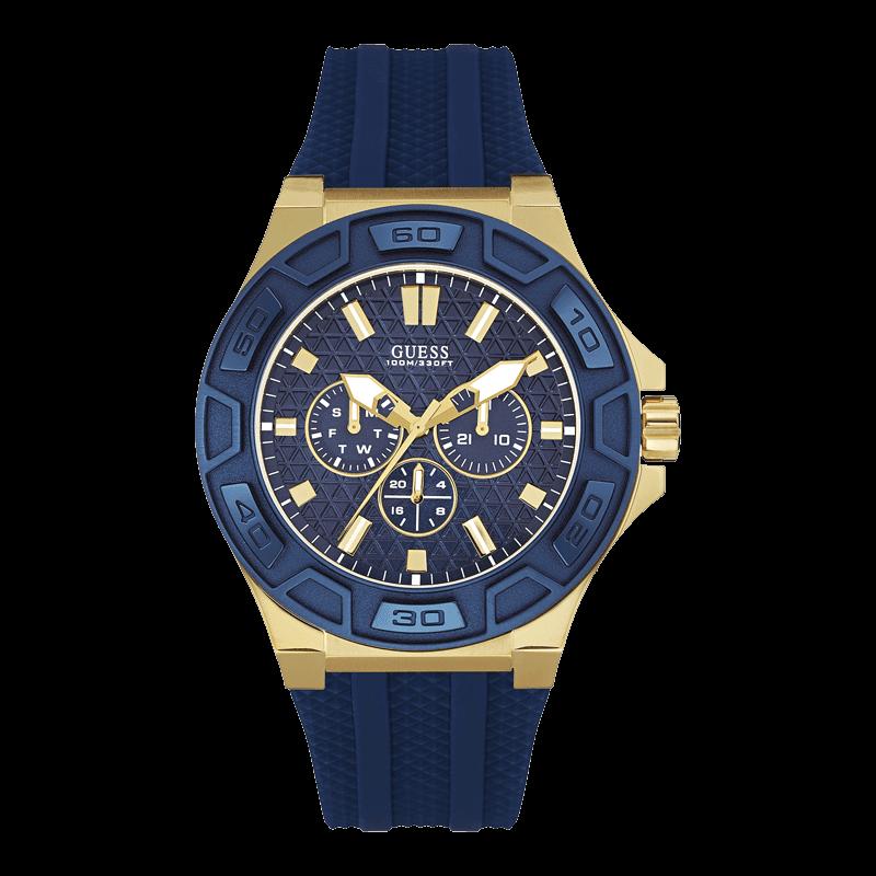 GUESS W0674G2 - мужские наручные часы из коллекции Indigo IllusionGUESS<br><br><br>Бренд: GUESS<br>Модель: GUESS W0674G2<br>Артикул: W0674G2<br>Вариант артикула: None<br>Коллекция: Indigo Illusion<br>Подколлекция: None<br>Страна: США<br>Пол: мужские<br>Тип механизма: кварцевые<br>Механизм: None<br>Количество камней: None<br>Автоподзавод: None<br>Источник энергии: от батарейки<br>Срок службы элемента питания: None<br>Дисплей: стрелки<br>Цифры: отсутствуют<br>Водозащита: WR 100<br>Противоударные: None<br>Материал корпуса: нерж. сталь, IP покрытие: позолота (частичное)<br>Материал браслета: полиуретан<br>Материал безеля: None<br>Стекло: минеральное<br>Антибликовое покрытие: None<br>Цвет корпуса: золото<br>Цвет браслета: синий<br>Цвет циферблата: синий<br>Цвет безеля: None<br>Размеры: 45x12.7 мм<br>Диаметр: None<br>Диаметр корпуса: None<br>Толщина: None<br>Ширина ремешка: None<br>Вес: None<br>Спорт-функции: None<br>Подсветка: стрелок<br>Вставка: None<br>Отображение даты: число, день недели<br>Хронограф: None<br>Таймер: None<br>Термометр: None<br>Хронометр: None<br>GPS: None<br>Радиосинхронизация: None<br>Барометр: None<br>Скелетон: None<br>Дополнительная информация: None<br>Дополнительные функции: None