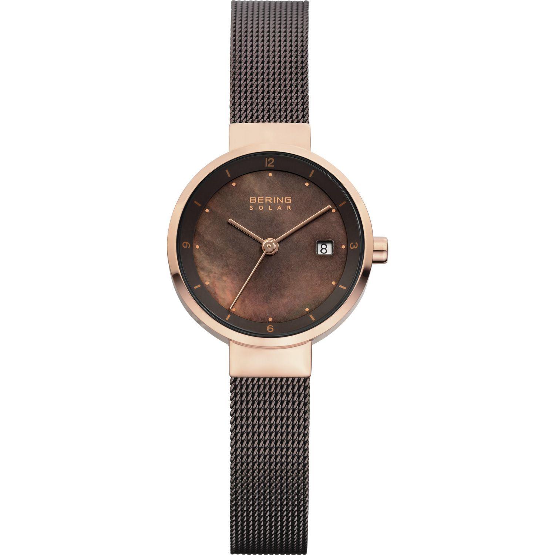Bering 14426-265 - женские наручные часы из коллекции SolarBering<br>lady solar, женские, шоколадный миланский браслет, сапфировое стекло<br><br>Бренд: Bering<br>Модель: Bering 14426-265<br>Артикул: 14426-265<br>Вариант артикула: ber-14426-265<br>Коллекция: Solar<br>Подколлекция: None<br>Страна: Дания<br>Пол: женские<br>Тип механизма: кварцевые<br>Механизм: None<br>Количество камней: None<br>Автоподзавод: None<br>Источник энергии: от солнечной батареи<br>Срок службы элемента питания: None<br>Дисплей: стрелки<br>Цифры: арабские<br>Водозащита: WR 50<br>Противоударные: None<br>Материал корпуса: нерж. сталь, IP покрытие: позолота (полное)<br>Материал браслета: нерж. сталь, IP покрытие (полное)<br>Материал безеля: None<br>Стекло: сапфировое<br>Антибликовое покрытие: None<br>Цвет корпуса: розовое золото<br>Цвет браслета: коричневый<br>Цвет циферблата: None<br>Цвет безеля: None<br>Размеры: 26 мм<br>Диаметр: 26 мм<br>Диаметр корпуса: None<br>Толщина: None<br>Ширина ремешка: None<br>Вес: None<br>Спорт-функции: None<br>Подсветка: None<br>Вставка: None<br>Отображение даты: число<br>Хронограф: None<br>Таймер: None<br>Термометр: None<br>Хронометр: None<br>GPS: None<br>Радиосинхронизация: None<br>Барометр: None<br>Скелетон: None<br>Дополнительная информация: None<br>Дополнительные функции: None