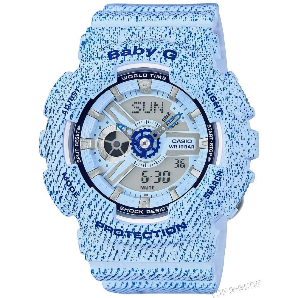 Casio Baby-G BA-110DC-2A3 / BA-110DC-2A3ER - унисекс наручные часыCasio<br><br><br>Бренд: Casio<br>Модель: Casio BA-110DC-2A3<br>Артикул: BA-110DC-2A3<br>Вариант артикула: BA-110DC-2A3ER<br>Коллекция: Baby-G<br>Подколлекция: None<br>Страна: Япония<br>Пол: унисекс<br>Тип механизма: кварцевые<br>Механизм: None<br>Количество камней: None<br>Автоподзавод: None<br>Источник энергии: от батарейки<br>Срок службы элемента питания: None<br>Дисплей: стрелки + цифры<br>Цифры: отсутствуют<br>Водозащита: WR 100<br>Противоударные: есть<br>Материал корпуса: пластик<br>Материал браслета: пластик<br>Материал безеля: None<br>Стекло: минеральное<br>Антибликовое покрытие: None<br>Цвет корпуса: None<br>Цвет браслета: None<br>Цвет циферблата: None<br>Цвет безеля: None<br>Размеры: 43.4x46.3x15.8 мм<br>Диаметр: None<br>Диаметр корпуса: None<br>Толщина: None<br>Ширина ремешка: None<br>Вес: 45 г<br>Спорт-функции: секундомер, таймер обратного отсчета<br>Подсветка: дисплея, стрелок<br>Вставка: None<br>Отображение даты: вечный календарь, число, месяц, день недели<br>Хронограф: None<br>Таймер: None<br>Термометр: None<br>Хронометр: None<br>GPS: None<br>Радиосинхронизация: None<br>Барометр: None<br>Скелетон: None<br>Дополнительная информация: повтор сигнала будильника, ежечасный сигнал, функция включения/отключения звука кнопок, элемент питания SR726W ? 2, срок службы батарейки 2 года<br>Дополнительные функции: второй часовой пояс, будильник (количество установок: 5)