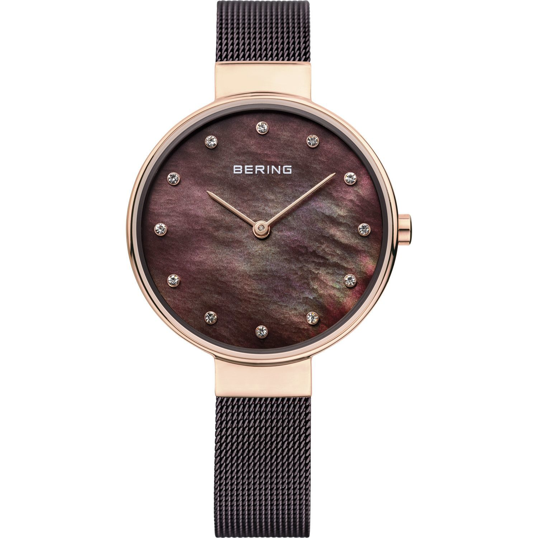 Bering 12034-265 - женские наручные часы из коллекции ClassicBering<br>rose gold, шоколадный миланский браслет, перламутровый циферблат, сапфировое стекло<br><br>Бренд: Bering<br>Модель: Bering 12034-265<br>Артикул: 12034-265<br>Вариант артикула: ber-12034-265<br>Коллекция: Classic<br>Подколлекция: None<br>Страна: Дания<br>Пол: женские<br>Тип механизма: кварцевые<br>Механизм: None<br>Количество камней: None<br>Автоподзавод: None<br>Источник энергии: от батарейки<br>Срок службы элемента питания: None<br>Дисплей: стрелки<br>Цифры: отсутствуют<br>Водозащита: WR 50<br>Противоударные: None<br>Материал корпуса: нерж. сталь, IP покрытие: позолота (полное)<br>Материал браслета: нерж. сталь, IP покрытие (полное)<br>Материал безеля: None<br>Стекло: сапфировое<br>Антибликовое покрытие: None<br>Цвет корпуса: розовое золото<br>Цвет браслета: коричневый<br>Цвет циферблата: None<br>Цвет безеля: None<br>Размеры: 34 мм<br>Диаметр: 34 мм<br>Диаметр корпуса: None<br>Толщина: None<br>Ширина ремешка: None<br>Вес: None<br>Спорт-функции: None<br>Подсветка: None<br>Вставка: кристаллы Swarovski<br>Отображение даты: None<br>Хронограф: None<br>Таймер: None<br>Термометр: None<br>Хронометр: None<br>GPS: None<br>Радиосинхронизация: None<br>Барометр: None<br>Скелетон: None<br>Дополнительная информация: None<br>Дополнительные функции: None