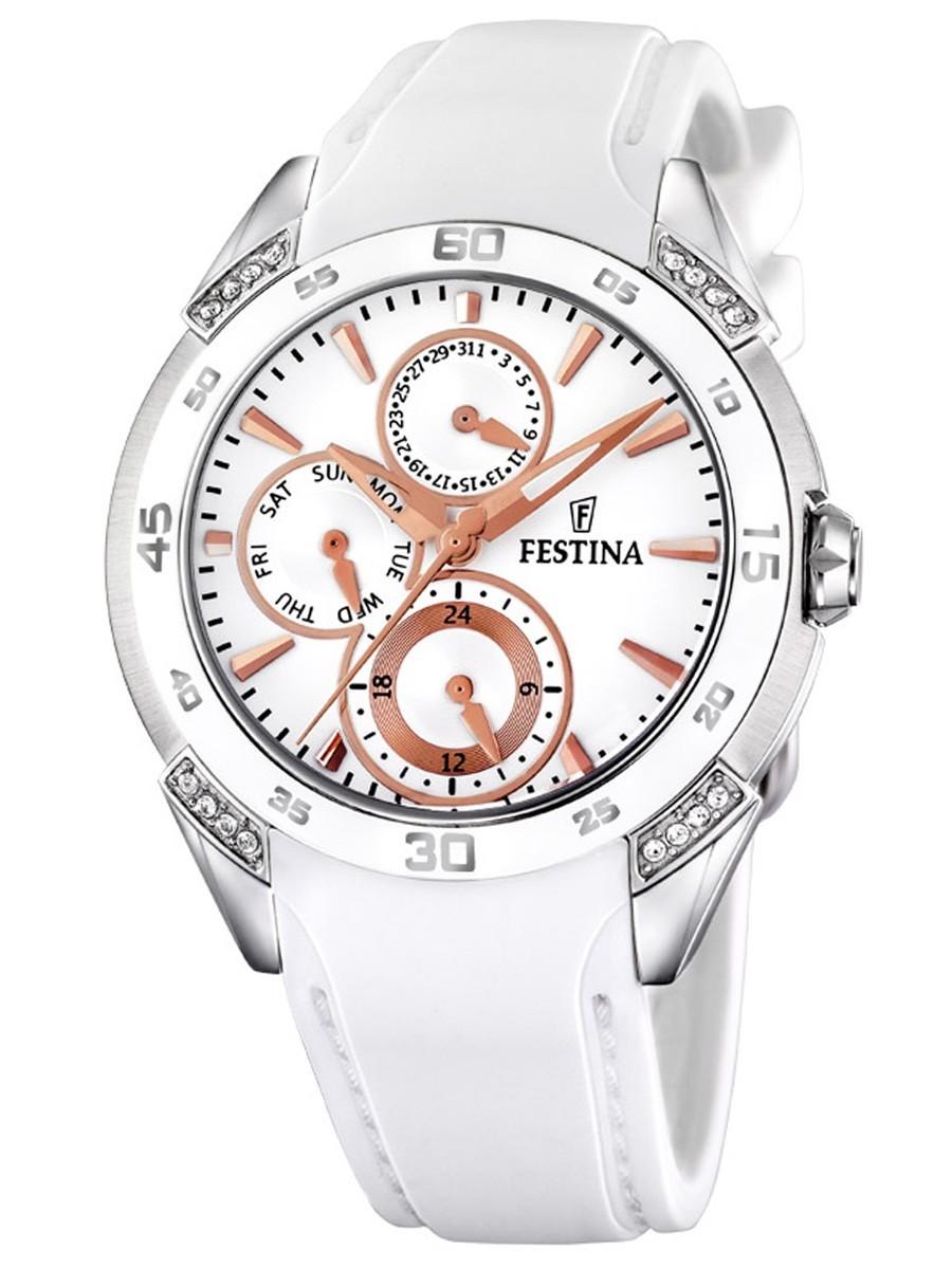 Festina F16394.3 - женские наручные часы из коллекции MultifunctionFestina<br><br><br>Бренд: Festina<br>Модель: Festina F16394/3<br>Артикул: F16394.3<br>Вариант артикула: None<br>Коллекция: Multifunction<br>Подколлекция: None<br>Страна: Испания<br>Пол: женские<br>Тип механизма: кварцевые<br>Механизм: None<br>Количество камней: None<br>Автоподзавод: None<br>Источник энергии: от батарейки<br>Срок службы элемента питания: None<br>Дисплей: стрелки<br>Цифры: отсутствуют<br>Водозащита: WR 30<br>Противоударные: None<br>Материал корпуса: нерж. сталь<br>Материал браслета: каучук<br>Материал безеля: None<br>Стекло: минеральное<br>Антибликовое покрытие: None<br>Цвет корпуса: None<br>Цвет браслета: None<br>Цвет циферблата: None<br>Цвет безеля: None<br>Размеры: None<br>Диаметр: None<br>Диаметр корпуса: None<br>Толщина: None<br>Ширина ремешка: None<br>Вес: None<br>Спорт-функции: None<br>Подсветка: None<br>Вставка: кристаллы Swarovski<br>Отображение даты: число, день недели<br>Хронограф: None<br>Таймер: None<br>Термометр: None<br>Хронометр: None<br>GPS: None<br>Радиосинхронизация: None<br>Барометр: None<br>Скелетон: None<br>Дополнительная информация: None<br>Дополнительные функции: второй часовой пояс