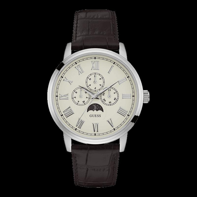 GUESS W0870G1 - мужские наручные часы из коллекции IconicGUESS<br><br><br>Бренд: GUESS<br>Модель: GUESS W0870G1<br>Артикул: W0870G1<br>Вариант артикула: None<br>Коллекция: Iconic<br>Подколлекция: None<br>Страна: США<br>Пол: мужские<br>Тип механизма: кварцевые<br>Механизм: None<br>Количество камней: None<br>Автоподзавод: None<br>Источник энергии: от батарейки<br>Срок службы элемента питания: None<br>Дисплей: стрелки<br>Цифры: римские<br>Водозащита: WR 30<br>Противоударные: None<br>Материал корпуса: нерж. сталь<br>Материал браслета: кожа<br>Материал безеля: None<br>Стекло: минеральное<br>Антибликовое покрытие: None<br>Цвет корпуса: серебро<br>Цвет браслета: коричневый<br>Цвет циферблата: белый<br>Цвет безеля: None<br>Размеры: 44x11 мм<br>Диаметр: None<br>Диаметр корпуса: None<br>Толщина: None<br>Ширина ремешка: None<br>Вес: None<br>Спорт-функции: None<br>Подсветка: None<br>Вставка: None<br>Отображение даты: число, день недели<br>Хронограф: None<br>Таймер: None<br>Термометр: None<br>Хронометр: None<br>GPS: None<br>Радиосинхронизация: None<br>Барометр: None<br>Скелетон: None<br>Дополнительная информация: None<br>Дополнительные функции: указатель фаз Луны