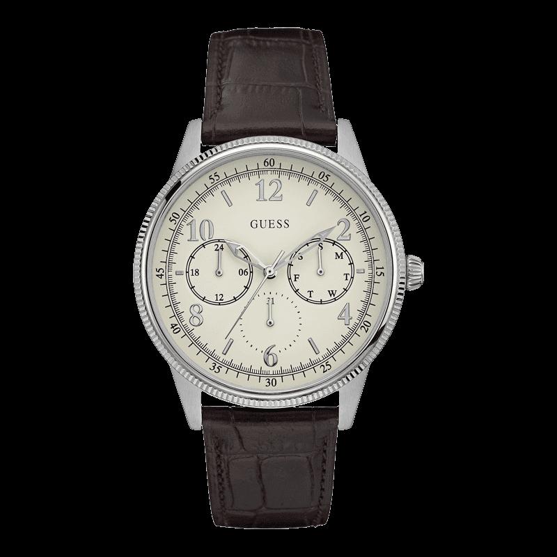 GUESS W0863G1 - мужские наручные часы из коллекции IconicGUESS<br><br><br>Бренд: GUESS<br>Модель: GUESS W0863G1<br>Артикул: W0863G1<br>Вариант артикула: None<br>Коллекция: Iconic<br>Подколлекция: None<br>Страна: США<br>Пол: мужские<br>Тип механизма: кварцевые<br>Механизм: None<br>Количество камней: None<br>Автоподзавод: None<br>Источник энергии: от батарейки<br>Срок службы элемента питания: None<br>Дисплей: стрелки<br>Цифры: арабские<br>Водозащита: WR 50<br>Противоударные: None<br>Материал корпуса: нерж. сталь<br>Материал браслета: кожа<br>Материал безеля: None<br>Стекло: минеральное<br>Антибликовое покрытие: None<br>Цвет корпуса: серебро<br>Цвет браслета: коричневый<br>Цвет циферблата: белый<br>Цвет безеля: None<br>Размеры: 44x11 мм<br>Диаметр: None<br>Диаметр корпуса: None<br>Толщина: None<br>Ширина ремешка: None<br>Вес: None<br>Спорт-функции: None<br>Подсветка: None<br>Вставка: None<br>Отображение даты: число, день недели<br>Хронограф: None<br>Таймер: None<br>Термометр: None<br>Хронометр: None<br>GPS: None<br>Радиосинхронизация: None<br>Барометр: None<br>Скелетон: None<br>Дополнительная информация: None<br>Дополнительные функции: None