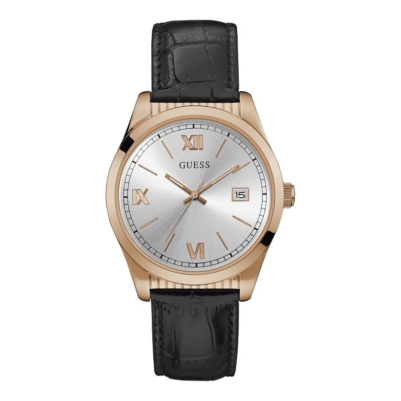 GUESS W0874G2 - мужские наручные часы из коллекции MODERN REDUXGUESS<br><br><br>Бренд: GUESS<br>Модель: GUESS W0874G2<br>Артикул: W0874G2<br>Вариант артикула: None<br>Коллекция: MODERN REDUX<br>Подколлекция: None<br>Страна: США<br>Пол: мужские<br>Тип механизма: кварцевые<br>Механизм: None<br>Количество камней: None<br>Автоподзавод: None<br>Источник энергии: от батарейки<br>Срок службы элемента питания: None<br>Дисплей: стрелки<br>Цифры: римские<br>Водозащита: WR 30<br>Противоударные: None<br>Материал корпуса: нерж. сталь, полное покрытие корпуса<br>Материал браслета: кожа (не указан)<br>Материал безеля: None<br>Стекло: минеральное<br>Антибликовое покрытие: None<br>Цвет корпуса: розовое золото<br>Цвет браслета: черный<br>Цвет циферблата: серебро<br>Цвет безеля: None<br>Размеры: 40x10 мм<br>Диаметр: None<br>Диаметр корпуса: None<br>Толщина: None<br>Ширина ремешка: None<br>Вес: None<br>Спорт-функции: None<br>Подсветка: стрелок<br>Вставка: None<br>Отображение даты: число<br>Хронограф: None<br>Таймер: None<br>Термометр: None<br>Хронометр: None<br>GPS: None<br>Радиосинхронизация: None<br>Барометр: None<br>Скелетон: None<br>Дополнительная информация: None<br>Дополнительные функции: None