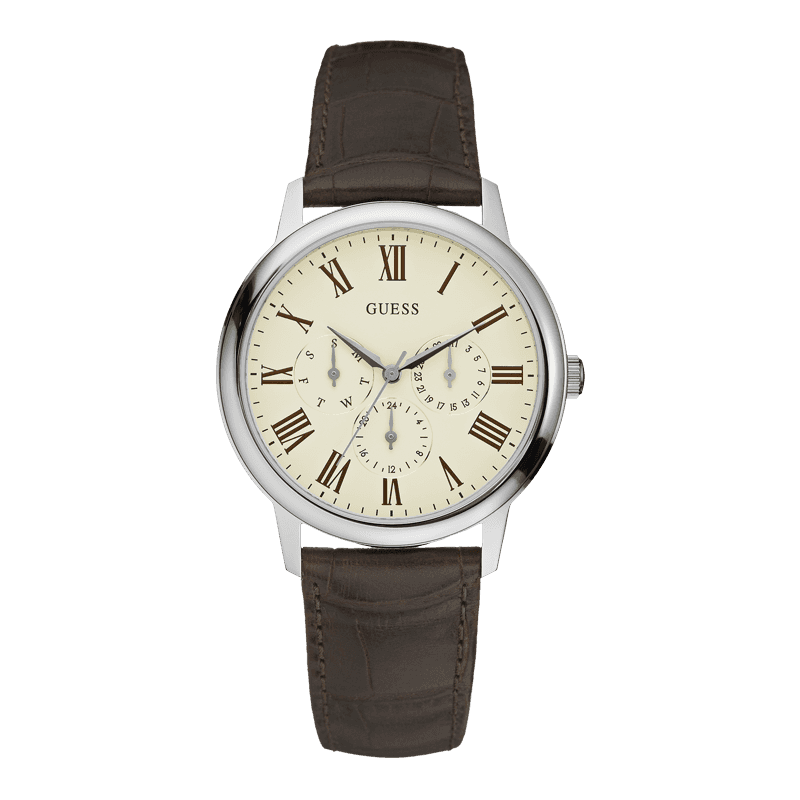 GUESS W70016G2 - мужские наручные часы из коллекции IconicGUESS<br><br><br>Бренд: GUESS<br>Модель: GUESS W70016G2<br>Артикул: W70016G2<br>Вариант артикула: None<br>Коллекция: Iconic<br>Подколлекция: None<br>Страна: США<br>Пол: мужские<br>Тип механизма: кварцевые<br>Механизм: None<br>Количество камней: None<br>Автоподзавод: None<br>Источник энергии: от батарейки<br>Срок службы элемента питания: None<br>Дисплей: стрелки<br>Цифры: римские<br>Водозащита: WR 50<br>Противоударные: None<br>Материал корпуса: нерж. сталь<br>Материал браслета: кожа<br>Материал безеля: None<br>Стекло: минеральное<br>Антибликовое покрытие: None<br>Цвет корпуса: серебро<br>Цвет браслета: коричневый<br>Цвет циферблата: белый<br>Цвет безеля: None<br>Размеры: 39 мм<br>Диаметр: None<br>Диаметр корпуса: None<br>Толщина: None<br>Ширина ремешка: None<br>Вес: None<br>Спорт-функции: None<br>Подсветка: None<br>Вставка: None<br>Отображение даты: число, день недели<br>Хронограф: None<br>Таймер: None<br>Термометр: None<br>Хронометр: None<br>GPS: None<br>Радиосинхронизация: None<br>Барометр: None<br>Скелетон: None<br>Дополнительная информация: None<br>Дополнительные функции: None