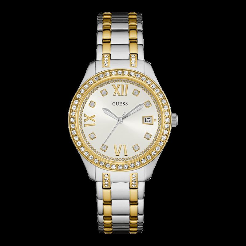 GUESS W0848L4 - женские наручные часы из коллекции IconicGUESS<br><br><br>Бренд: GUESS<br>Модель: GUESS W0848L4<br>Артикул: W0848L4<br>Вариант артикула: None<br>Коллекция: Iconic<br>Подколлекция: None<br>Страна: США<br>Пол: женские<br>Тип механизма: кварцевые<br>Механизм: None<br>Количество камней: None<br>Автоподзавод: None<br>Источник энергии: от батарейки<br>Срок службы элемента питания: None<br>Дисплей: стрелки<br>Цифры: римские<br>Водозащита: WR 50<br>Противоударные: None<br>Материал корпуса: нерж. сталь, частичное покрытие корпуса<br>Материал браслета: нерж. сталь, частичное дополнительное покрытие<br>Материал безеля: None<br>Стекло: минеральное<br>Антибликовое покрытие: None<br>Цвет корпуса: серебро<br>Цвет браслета: серебро/золото<br>Цвет циферблата: белый<br>Цвет безеля: None<br>Размеры: 38x10 мм<br>Диаметр: None<br>Диаметр корпуса: None<br>Толщина: None<br>Ширина ремешка: None<br>Вес: None<br>Спорт-функции: None<br>Подсветка: None<br>Вставка: None<br>Отображение даты: число<br>Хронограф: None<br>Таймер: None<br>Термометр: None<br>Хронометр: None<br>GPS: None<br>Радиосинхронизация: None<br>Барометр: None<br>Скелетон: None<br>Дополнительная информация: None<br>Дополнительные функции: None