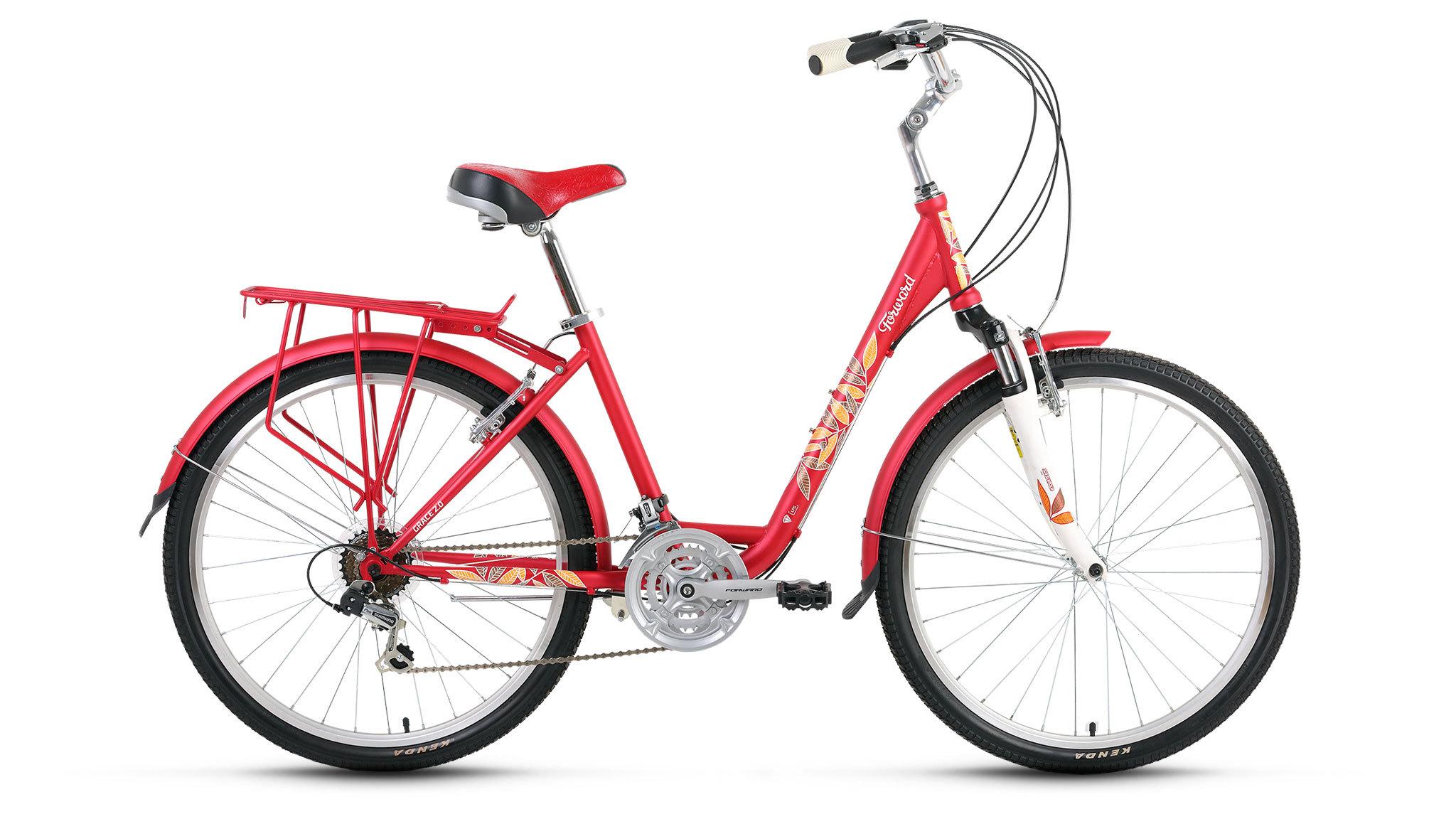Forward Grace 2.0 (2016)Городские<br>Forward Grace 2.0 – женский городской велосипед дл комфортной езды по городу. Непревзойденное сочетание стил, комфорта и надежности. Стильный - Grace 2.0 – пожалуй, один из самых стильных женских ситибайков в линейке Forward. Остаетс только восхищатьс.КомфортныйБольшие возможности настройки велосипеда Forward Grace 2.0 под индивидуальные особенности, специальна геометри рам дл женщин и амортизационна вилка обеспечиват комфортное передвижение по городским улицам.ТехнологичныйТрансмисси Shimano обеспечивает плавное и четкое переклчение скоростей, а 21 скорость дает широкие возможности в выборе необходимой передачи в лбой ситуации.<br>