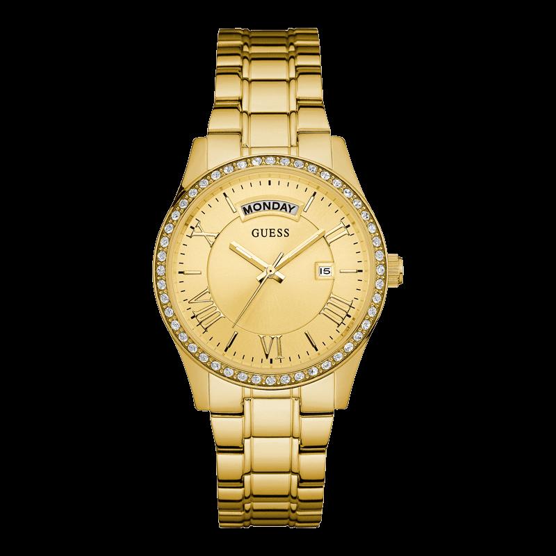 GUESS W0764L2 - женские наручные часы из коллекции IconicGUESS<br><br><br>Бренд: GUESS<br>Модель: GUESS W0764L2<br>Артикул: W0764L2<br>Вариант артикула: None<br>Коллекция: Iconic<br>Подколлекция: None<br>Страна: США<br>Пол: женские<br>Тип механизма: кварцевые<br>Механизм: None<br>Количество камней: None<br>Автоподзавод: None<br>Источник энергии: от батарейки<br>Срок службы элемента питания: None<br>Дисплей: стрелки<br>Цифры: римские<br>Водозащита: WR 50<br>Противоударные: None<br>Материал корпуса: нерж. сталь, полное покрытие корпуса<br>Материал браслета: нерж. сталь, полное дополнительное покрытие<br>Материал безеля: None<br>Стекло: минеральное<br>Антибликовое покрытие: None<br>Цвет корпуса: золото<br>Цвет браслета: золото<br>Цвет циферблата: золото<br>Цвет безеля: None<br>Размеры: 38x10 мм<br>Диаметр: None<br>Диаметр корпуса: None<br>Толщина: None<br>Ширина ремешка: None<br>Вес: None<br>Спорт-функции: None<br>Подсветка: стрелок<br>Вставка: None<br>Отображение даты: число, день недели<br>Хронограф: None<br>Таймер: None<br>Термометр: None<br>Хронометр: None<br>GPS: None<br>Радиосинхронизация: None<br>Барометр: None<br>Скелетон: None<br>Дополнительная информация: None<br>Дополнительные функции: None