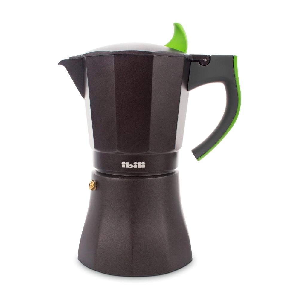 Кофеварка гейзерная на 9 чашек, алюминий, ручка зеленая IBILI L Aroma арт. 621109Посуда для приготовления IBILI (Испания)<br>крышка:естьматериал:алюминийпредметов в наборе (штук):1ручки:фиксированныестрана:Испаниятип варочной поверхности:все типы поверхностей, кроме индукционной<br><br>Гейзерная кофеварка серии L Aroma от Ibili — это отличная возможность побаловать себя чашечкой великолепного ароматного кофе. Кофеварка рассчитана на 9 порций, поэтому вы без труда сможете не только самому насладиться свежим бодрящим напитком, но и угостить им друзей. За считанные минуты прибор приготовит ваш любимый напиток на любой плите, кроме индукционной, и моментально наполнит кухню изумительным ароматом.<br>Прочная алюминиевая основа придает кофеварке легкость и надежность, а стильный «граненый» дизайн с черным матовым покрытием добавит кухонному интерьеру элегантности и особого шарма. Отделка ручки выполнена в двух цветовых вариантах — вы можете выбрать тот, который наиболее гармонично впишется в интерьер вашей кухни.<br>Официальный продавец IBILI<br>