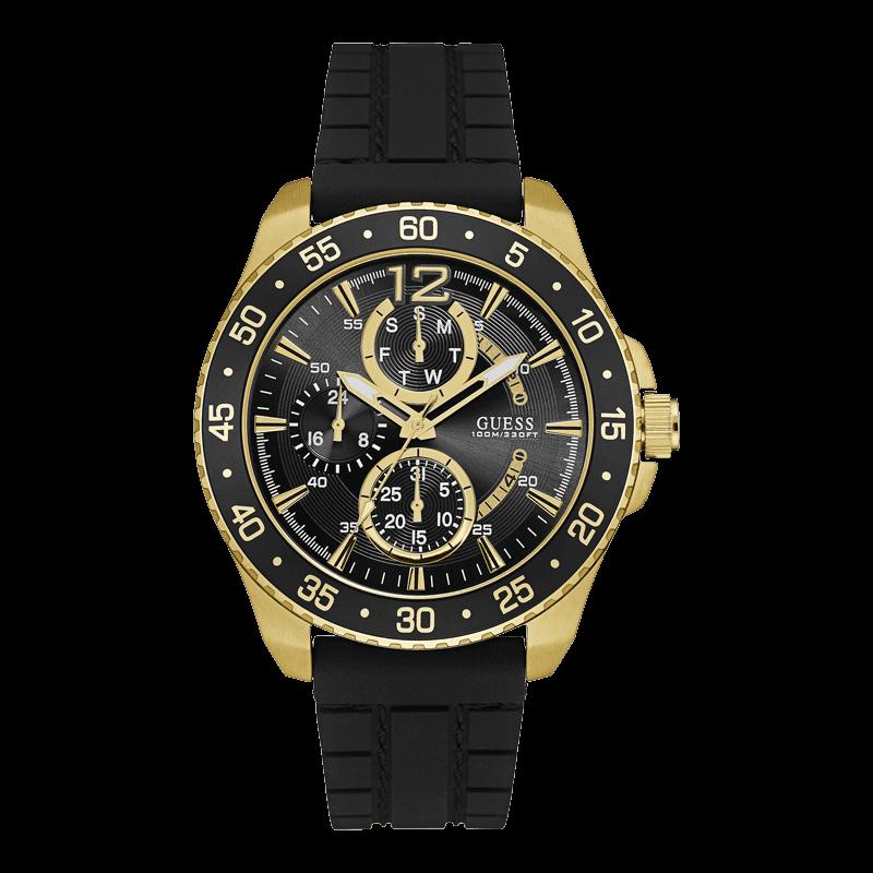GUESS W0798G3 - мужские наручные часы из коллекции ROMANTIC REBELGUESS<br><br><br>Бренд: GUESS<br>Модель: GUESS W0798G3<br>Артикул: W0798G3<br>Вариант артикула: None<br>Коллекция: ROMANTIC REBEL<br>Подколлекция: None<br>Страна: США<br>Пол: мужские<br>Тип механизма: кварцевые<br>Механизм: None<br>Количество камней: None<br>Автоподзавод: None<br>Источник энергии: от батарейки<br>Срок службы элемента питания: None<br>Дисплей: стрелки<br>Цифры: арабские<br>Водозащита: WR 100<br>Противоударные: None<br>Материал корпуса: нерж. сталь, полное покрытие корпуса<br>Материал браслета: силикон<br>Материал безеля: None<br>Стекло: минеральное<br>Антибликовое покрытие: None<br>Цвет корпуса: золото<br>Цвет браслета: черный<br>Цвет циферблата: черный<br>Цвет безеля: None<br>Размеры: 46x13 мм<br>Диаметр: None<br>Диаметр корпуса: None<br>Толщина: None<br>Ширина ремешка: None<br>Вес: None<br>Спорт-функции: None<br>Подсветка: стрелок<br>Вставка: None<br>Отображение даты: число, день недели<br>Хронограф: None<br>Таймер: None<br>Термометр: None<br>Хронометр: None<br>GPS: None<br>Радиосинхронизация: None<br>Барометр: None<br>Скелетон: None<br>Дополнительная информация: None<br>Дополнительные функции: None