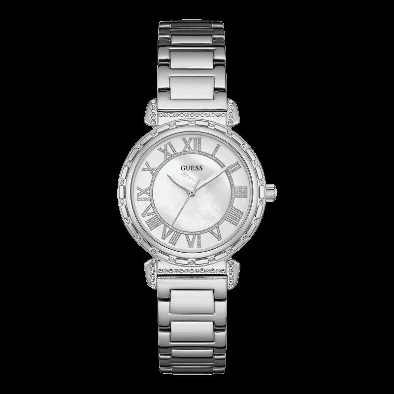 GUESS W0831L1 - женские наручные часы из коллекции IconicGUESS<br><br><br>Бренд: GUESS<br>Модель: GUESS W0831L1<br>Артикул: W0831L1<br>Вариант артикула: None<br>Коллекция: Iconic<br>Подколлекция: None<br>Страна: США<br>Пол: женские<br>Тип механизма: кварцевые<br>Механизм: None<br>Количество камней: None<br>Автоподзавод: None<br>Источник энергии: от батарейки<br>Срок службы элемента питания: None<br>Дисплей: стрелки<br>Цифры: римские<br>Водозащита: WR 30<br>Противоударные: None<br>Материал корпуса: нерж. сталь<br>Материал браслета: нерж. сталь<br>Материал безеля: None<br>Стекло: минеральное<br>Антибликовое покрытие: None<br>Цвет корпуса: серебро<br>Цвет браслета: серебро<br>Цвет циферблата: перламутр<br>Цвет безеля: None<br>Размеры: 34x10 мм<br>Диаметр: None<br>Диаметр корпуса: None<br>Толщина: None<br>Ширина ремешка: None<br>Вес: None<br>Спорт-функции: None<br>Подсветка: None<br>Вставка: None<br>Отображение даты: None<br>Хронограф: None<br>Таймер: None<br>Термометр: None<br>Хронометр: None<br>GPS: None<br>Радиосинхронизация: None<br>Барометр: None<br>Скелетон: None<br>Дополнительная информация: None<br>Дополнительные функции: None