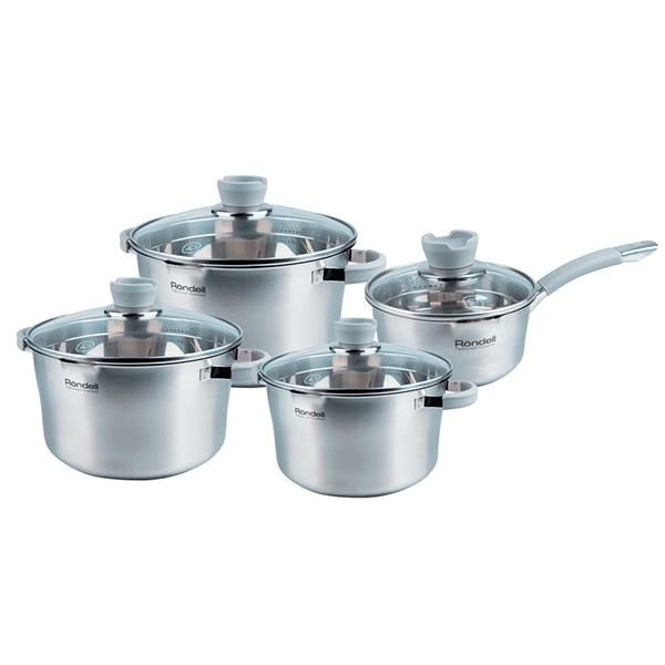 Набор посуды Rondell Favory 8 предметов RDS-743Наборы посуды Rondell<br>Набор посуды Rondell Favory 8 предметов RDS-743<br><br>Состав набора:<br><br>Кастрюля 24 см (5.6л) + крышка<br>Кастрюля 20 см (3.4л) + крышка<br>Кастрюля 18 см (2.4л) + крышка<br>Ковш 16 см (1.4л) + крышка<br><br><br>Технология: Тройное вштампованное, а затем вплавленное дно.<br>Внутреннее покрытие: Без покрытия.<br>Внешнее покрытие и отделка: Сатинированная полировка корпуса.<br>Толщина стенок: 0,6 мм.<br>Толщина дна: 4,0 мм.<br>Материал крышки: Комбинированный: термостойкое стекло и нержавеющая сталь.<br>Аксессуары: Оригинальная конструкция ручек - комбинация стали и силикона.<br>Тип крепления аксессуаров: Точечная сварка.<br><br>Преимущества:<br><br>Внутренние отметки литража;<br>Возможность хранения ложки во время готовки на крышке;<br>Комбинированная крышка из термостойкого стекла и ободком из нержавеющей стали для удобного слива жидкости (2 диаметра отверстий);<br> Силиконовые вставки на ручках против скольжения.<br><br><br>Использование:<br><br>Не подходит для духовки;<br>Не подходит для микроволновой печи;<br>Подходит для всех видов плит, включая индукционные;<br>Подходит для посудомоечной машины.<br><br><br> Упаковка: Подарочная упаковка с ручкой.<br>