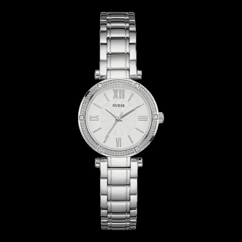 GUESS W0767L1 - женские наручные часы из коллекции IconicGUESS<br><br><br>Бренд: GUESS<br>Модель: GUESS W0767L1<br>Артикул: W0767L1<br>Вариант артикула: None<br>Коллекция: Iconic<br>Подколлекция: None<br>Страна: США<br>Пол: женские<br>Тип механизма: кварцевые<br>Механизм: None<br>Количество камней: None<br>Автоподзавод: None<br>Источник энергии: от батарейки<br>Срок службы элемента питания: None<br>Дисплей: стрелки<br>Цифры: римские<br>Водозащита: WR 30<br>Противоударные: None<br>Материал корпуса: нерж. сталь<br>Материал браслета: нерж. сталь<br>Материал безеля: None<br>Стекло: минеральное<br>Антибликовое покрытие: None<br>Цвет корпуса: серебро<br>Цвет браслета: серебро<br>Цвет циферблата: белый<br>Цвет безеля: None<br>Размеры: 30 мм<br>Диаметр: None<br>Диаметр корпуса: None<br>Толщина: None<br>Ширина ремешка: None<br>Вес: None<br>Спорт-функции: None<br>Подсветка: None<br>Вставка: None<br>Отображение даты: None<br>Хронограф: None<br>Таймер: None<br>Термометр: None<br>Хронометр: None<br>GPS: None<br>Радиосинхронизация: None<br>Барометр: None<br>Скелетон: None<br>Дополнительная информация: None<br>Дополнительные функции: None