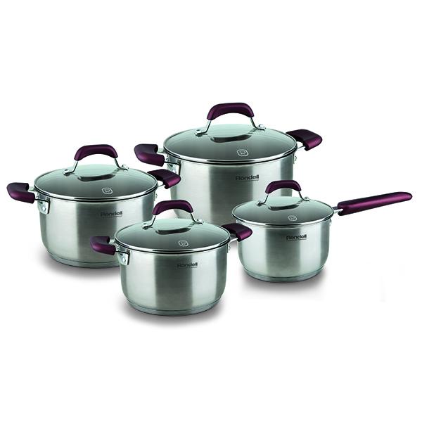 Набор посуды Rondell Bojole 8 предметов RDS-824Наборы посуды Rondell<br>Набор посуды Rondell Bojole 8 предметов RDS-824<br><br>В состав набора входит:<br><br>Кастрюля 24 см (5.6л) + крышка<br>Кастрюля 20 см (3.3л) + крышка<br>Кастрюля 18 см (2.3л) + крышка<br>Ковш 16 см (1.7л) + крышка<br><br><br>Технология: Тройное вштампованное, а затем вплавленное дно.<br>Внутреннее покрытие: Без покрытия.<br>Внешнее покрытие и отделка: Сатинированная полировка корпуса.<br>Толщина стенок: 0,5 мм.<br>Толщина дна: 5,0 мм.<br>Материал крышки: Термостойкое стекло.<br>Аксессуары: Эргономичные из бакелита с силиконовым напылением.<br>Тип крепления аксессуаров: Клепочное.<br><br>Преимущества:<br><br>Внутренние отметки литража;<br>Высокие стенки корпуса – большой литраж посуды;<br>Ободок крышки из нержавеющей стали против сколов и трещин.<br><br><br>Использование:<br><br> Не подходит для духовки;<br>Не рекомендуется мыть в посудомоечной машине;<br>Подходит для всех видов плит.<br><br><br>Упаковка: Подарочная коробка с ручкой.<br>