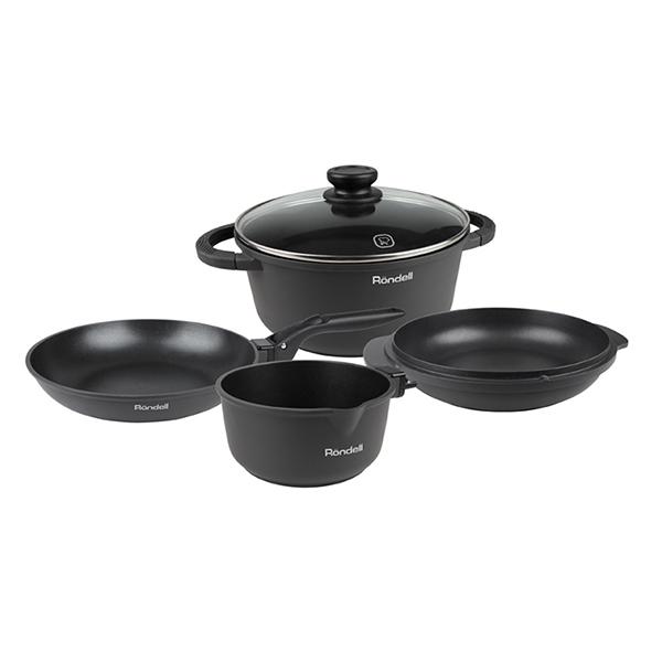 Набор посуды Rondell The One 6 предметов RDA-563Наборы посуды Rondell<br>Набор посуды Rondell The One 6 предметов RDA-563<br><br>В набор RDA-563 входит: <br><br>Кастрюля 24 см (5л) <br>Сковорода 24 см <br>Сотейник 24 см <br>Ковш 16 см <br>Крышка 24 см <br>Съемная ручка <br><br><br>Толщина стенок – 2.5 мм. <br>Толщина дна – 5.0 мм. <br>Внешнее покрытие – матовый, силиконовый полиэстр, устойчивый к высоким температурам. <br>Внутреннее покрытие - двухслойное, долговечное антипригарное покрытие для интенсивного использования Xylan Plus®. <br>Съемная надежная бакелитовая ручка. <br>Крышка из термостойкого стекла с отверстием для выпуска пара. <br>Силиконовые вставки на ручках против скольжения. <br>Упаковка - подарочная коробка с ручкой. <br>Подходит для всех видов плит, включая индукционные. <br>Возможно использование в духовом шкафу (без ручки). <br>Подходит для посудомоечной машины.<br>