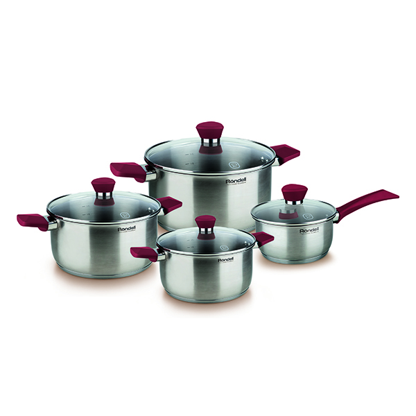 Набор посуды Rondell Strike 8 предмета RDS-818Наборы посуды Rondell<br>Набор посуды Rondell Strike 8 предмета RDS-818<br><br>В набор RDS-818 входит: <br><br>Кастрюля 24 см (4.8л) + крышка <br>Кастрюля 20 см (2.8л) + крышка <br>Кастрюля 18 см (2.0л) + крышка <br>Ковш 16 см (1.3л) + крышка <br><br><br>Толщина стенок 0.5 мм. <br>Тройное вштампованное, а затем вплавленное дно 5.0 мм. <br>Матированная обработка внешней поверхности. <br>Отметки литража на внутренней поверхности посуды. <br>Крышка из термостойкого стекла. <br>Эргономичные ручки из бакелита с силиконовым напылением. <br>Надежное клепочное крепление аксессуаров. <br>Плавный переход от дна к стенкам. <br>Упаковка - подарочная коробка с ручкой. <br>Буклет с рецептами. <br>Подходит для всех видов плит. <br>Не подходит для посудомоечной машины.<br>