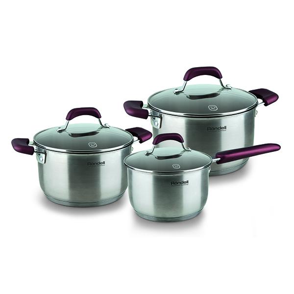 Набор посуды Rondell Bojole 6 предметов RDS-823Наборы посуды Rondell<br>Набор посуды Rondell Bojole 6 предметов RDS-823<br><br>В набор RDS-823 входит: <br><br>Кастрюля 24 см (5.6л) + крышка <br>Кастрюля 20 см (3.3л) + крышка <br>Ковш 16 см (1.7л) + крышка <br><br><br>Толщина стенок 0.5 мм. <br>Тройное вштампованное, а затем вплавленное дно 5.0 мм. <br>Матированная обработка внешней поверхности. <br>Отметки литража на внутренней поверхности посуды. <br>Крышка из термостойкого стекла с отверстием для выпуска пара. <br>Эргономичные ручки из бакелита с силиконовым напылением. <br>Надежное крепление - точечная сварка. <br>Плавный переход от дна к стенкам. <br>Упаковка - картонный рукав. <br>Буклет с рецептами. <br>Подходит для всех видов плит. <br>Не подходит для посудомоечной машины.<br>