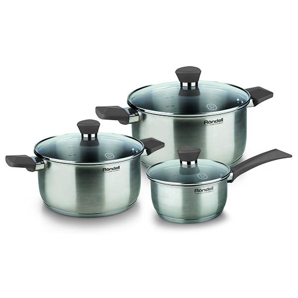 Набор посуды Rondell Strike 6 предмета RDS-820Наборы посуды Rondell<br>Набор посуды Rondell Strike 6 предмета RDS-820<br><br>В набор RDS-820 входит: <br><br>Кастрюля 24 см (4.8л) + крышка <br>Кастрюля 20 см (2.8л) + крышка <br>Ковш 16 см (1.3л) + крышка <br><br><br>Толщина стенок 0.5 мм. <br>Тройное вштампованное, а затем вплавленное дно 5.0 мм. <br>Матированная обработка внешней поверхности. <br>Отметки литража на внутренней поверхности посуды. <br>Крышка из термостойкого стекла. <br>Эргономичные ручки из бакелита с силиконовым напылением. <br>Надежное клепочное крепление аксессуаров. <br>Плавный переход от дна к стенкам. <br>Упаковка - подарочная коробка с ручкой. <br>Буклет с рецептами. <br>Подходит для всех видов плит. <br>Не подходит для посудомоечной машины.<br>