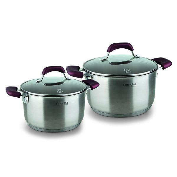 Набор посуды Rondell Bojole 4 предмета RDS-822Наборы посуды Rondell<br>Набор посуды Rondell Bojole 4 предмета RDS-822<br><br>В набор RDS-822 входит: <br><br>Кастрюля 24 см (5.6л) + крышка <br>Кастрюля 20 см (3.3л) + крышка<br><br><br>Толщина стенок 0.5 мм. <br>Тройное вштампованное, а затем вплавленное дно 5.0 мм. <br>Матированная обработка внешней поверхности. <br>Отметки литража на внутренней поверхности посуды. <br>Крышка из термостойкого стекла с отверстием для выпуска пара. <br>Эргономичные ручки из бакелита с силиконовым напылением. <br>Надежное крепление - точечная сварка. <br>Плавный переход от дна к стенкам. <br>Упаковка - картонный рукав. <br>Буклет с рецептами. <br>Подходит для всех видов плит. <br>Не подходит для посудомоечной машины.<br>