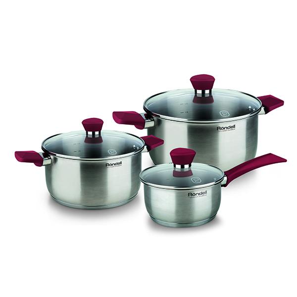 Набор посуды Rondell Strike 6 предмета RDS-817Наборы посуды Rondell<br>Набор посуды Rondell Strike 6 предмета RDS-817<br><br>В набор RDS-817 входит: <br><br>Кастрюля 20 см (2.8л) + крышка <br>Кастрюля 18 см (2.0л) + крышка <br>Ковш 14 см (0.9л) + крышка <br><br><br>Толщина стенок 0.5 мм. <br>Тройное вштампованное, а затем вплавленное дно 5.0 мм. <br>Матированная обработка внешней поверхности. <br>Отметки литража на внутренней поверхности посуды. <br>Крышка из термостойкого стекла. <br>Эргономичные ручки из бакелита с силиконовым напылением. <br>Надежное клепочное крепление аксессуаров. <br>Плавный переход от дна к стенкам. <br>Упаковка - подарочная коробка с ручкой. <br>Буклет с рецептами. <br>Подходит для всех видов плит. <br>Не подходит для посудомоечной машины.<br>