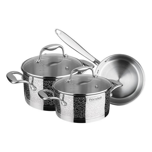 Набор посуды Rondell Vintage 6 предметов RDS-379Наборы посуды Rondell<br>Набор посуды Rondell Vintage 6 предметов RDS-379<br><br>В набор RDS-379 входит: <br><br>Кастрюля 24 см (5.0л) + крышка <br>Кастрюля 20 см (3.0л) + крышка <br>Ковш 16 см (1.5л) + крышка <br><br><br>Технология: Жидкостекольная внешняя деколь.<br>Тройное вштампованное, а затем вплавленное дно.<br>Внешнее покрытие и отделка: Жидкостекольная внешняя деколь.<br>Толщина стенок: 0,7 мм.<br>Толщина дна: 6,4 мм.<br>Материал крышки: Комбинированный: термостойкое стекло и нержавеющая сталь.<br>Аксессуары: Литые, из нержавеющей стали.<br> Тип крепления аксессуаров: Клепочное.<br><br>Преимущества:<br><br>Внутренние отметки литража;<br>Ободок крышки из нержавеющей стали против сколов и трещин;<br>Отверстие в крышке для выпуска пара.<br><br><br>Использование:<br><br>Возможно использование в духовом шкафу (без крышки);<br>Не подходит для посудомоечной машины;<br> Подходит для всех видов плит.<br><br><br> Упаковка: Подарочная упаковка с ручкой.<br>Подарок: Буклет с рецептами от шеф-повара.<br>