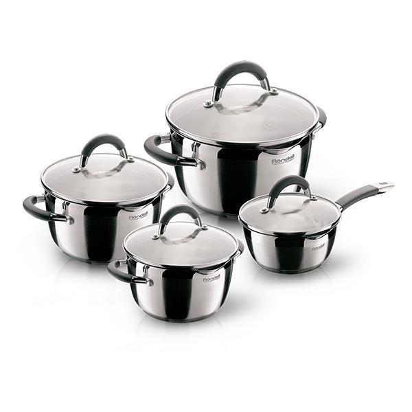 Набор посуды Rondell Flamme 8 предметов RDS-040Наборы посуды Rondell<br>Набор посуды Rondell Flamme 8 предметов RDS-040<br><br>В состав набора входит: <br><br>Ковш 16 см (1,3 л) <br>Крышка 16 см <br>Кастрюля 18 см (2,3 л) <br>Крышка18 см <br>Кастрюля 20 см (3,2 л) <br>Крышка 20 см <br>Кастрюля 24 см (5,7 л) <br>Крышка 24 см<br><br><br>Технология: Тройное вштампованное, а затем вплавленное дно.<br>Внутреннее покрытие: Без покрытия.<br>Внешнее покрытие и отделка: Комбинированная полировка: зеркальная и сатинированная.<br>Толщина стенок: 0,6 мм.<br>Толщина дна: 5,0 мм.<br>Материал крышки: Комбинированный: термостойкое стекло и нержавеющая сталь.<br>Аксессуары: Удобные комбинированные: нержавеющая сталь и силикон.<br>Тип крепления аксессуаров: Клепочное.<br><br>Преимущества:<br><br>Внутренние отметки литража <br>Комбинированная крышка из термостойкого стекла и ободком из нержавеющей стали для удобного слива жидкости (2 диаметра отверстий) <br>Ободок крышки из нержавеющей стали против сколов и трещин.<br><br><br>Использование:<br><br>Не подходит для духовки <br>Подходит для всех видов плит, включая индукционные <br>Подходит для посудомоечной машины.<br><br><br>Упаковка: Подарочная упаковка с ручкой.<br>Подарок: Буклет с рецептами от шеф-повара.<br>