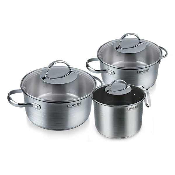 Набор посуды Rondell Symphonia 6 предметов RDS-382Наборы посуды Rondell<br>Набор посуды Rondell Symphonia 6 предметов RDS-382<br><br>В набор RDS-382 входит: <br><br>Кастрюля 24 см (4.9л) + крышка <br>Кастрюля 20 см (2.8л) + крышка <br>Молочник 16 см (1.3л) + крышка <br><br><br>Технология: Тройное вштампованное, а затем вплавленное дно.<br>Внутреннее покрытие: Excalibur® – сверхпрочное, надежное антипригарное покрытие на стальной основе (для молочника).<br>Внешнее покрытие и отделка: Сатинированная полировка внешней поверхности с лазерными декоротивными насечками.<br>Толщина стенок: 0,7 мм.<br>Толщина дна: 5,0 мм.<br>Материал крышки: Комбинированный: термостойкое стекло и нержавеющая сталь.<br>Аксессуары: Стальная ручка.<br>Тип крепления аксессуаров: Клепочное.<br><br>Преимущества:<br><br>Внутренние отметки литража;<br>Возможно использование металлических лопаток;<br>Ободок крышки из нержавеющей стали против сколов и трещин;<br>Отверстие в крышке для выпуска пара.<br><br><br>Использование:<br><br>Возможно использование в духовом шкафу (без крышки);<br>Подходит для всех видов плит;<br>Подходит для посудомоечной машины.<br><br><br>Упаковка: Подарочная упаковка с ручкой.<br>Подарок: Буклет с рецептами от шеф-повара.<br>