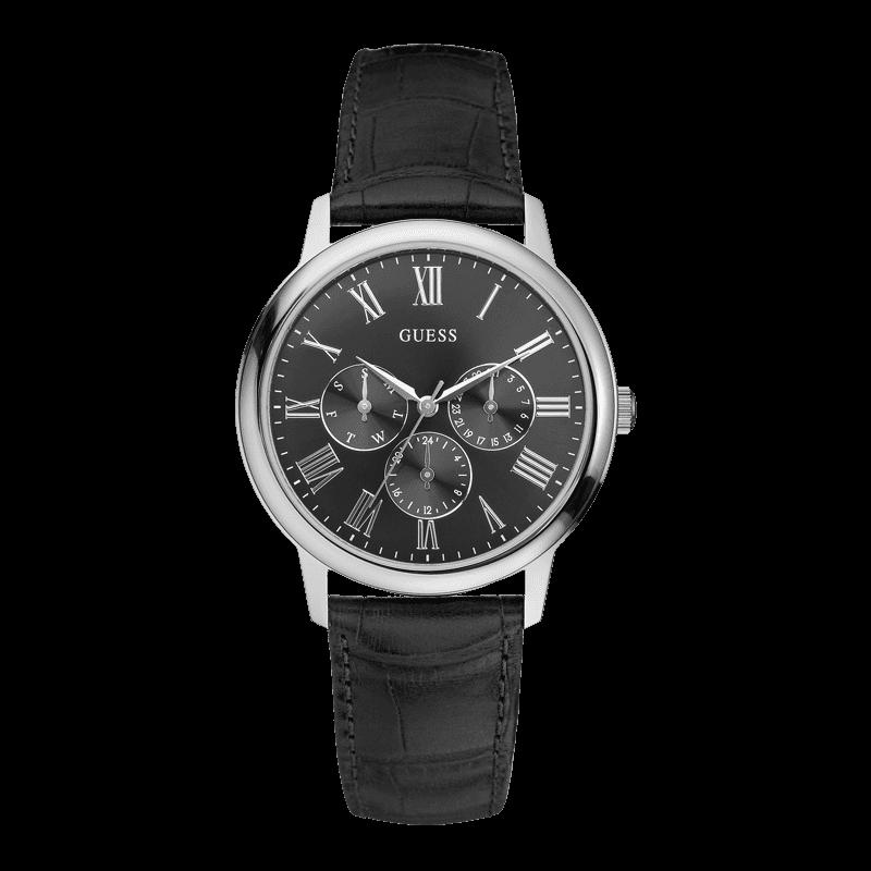 GUESS W70016G1 - мужские наручные часы из коллекции IconicGUESS<br><br><br>Бренд: GUESS<br>Модель: GUESS W70016G1<br>Артикул: W70016G1<br>Вариант артикула: None<br>Коллекция: Iconic<br>Подколлекция: None<br>Страна: США<br>Пол: мужские<br>Тип механизма: кварцевые<br>Механизм: Miyota<br>Количество камней: None<br>Автоподзавод: None<br>Источник энергии: от батарейки<br>Срок службы элемента питания: None<br>Дисплей: стрелки<br>Цифры: римские<br>Водозащита: WR 30<br>Противоударные: None<br>Материал корпуса: нерж. сталь<br>Материал браслета: кожа<br>Материал безеля: None<br>Стекло: минеральное<br>Антибликовое покрытие: None<br>Цвет корпуса: серебро<br>Цвет браслета: черный<br>Цвет циферблата: черный<br>Цвет безеля: None<br>Размеры: None<br>Диаметр: None<br>Диаметр корпуса: None<br>Толщина: None<br>Ширина ремешка: None<br>Вес: None<br>Спорт-функции: None<br>Подсветка: None<br>Вставка: None<br>Отображение даты: число, день недели<br>Хронограф: None<br>Таймер: None<br>Термометр: None<br>Хронометр: None<br>GPS: None<br>Радиосинхронизация: None<br>Барометр: None<br>Скелетон: None<br>Дополнительная информация: None<br>Дополнительные функции: None