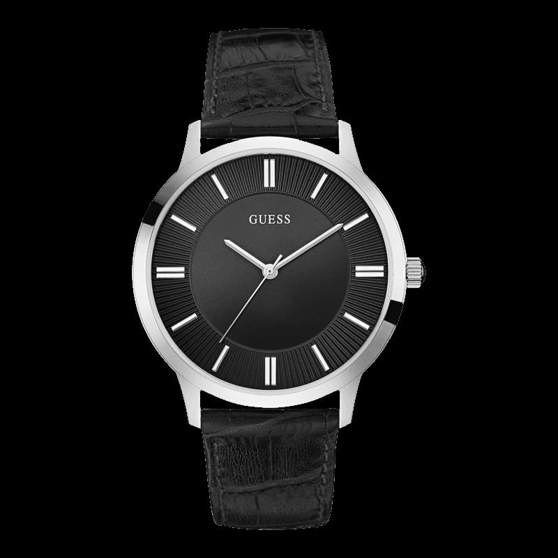 GUESS W0664G1 - мужские наручные часы из коллекции IconicGUESS<br><br><br>Бренд: GUESS<br>Модель: GUESS W0664G1<br>Артикул: W0664G1<br>Вариант артикула: None<br>Коллекция: Iconic<br>Подколлекция: None<br>Страна: США<br>Пол: мужские<br>Тип механизма: кварцевые<br>Механизм: None<br>Количество камней: None<br>Автоподзавод: None<br>Источник энергии: от батарейки<br>Срок службы элемента питания: None<br>Дисплей: стрелки<br>Цифры: отсутствуют<br>Водозащита: WR 30<br>Противоударные: None<br>Материал корпуса: нерж. сталь<br>Материал браслета: кожа (не указан)<br>Материал безеля: None<br>Стекло: минеральное<br>Антибликовое покрытие: None<br>Цвет корпуса: серебро<br>Цвет браслета: черный<br>Цвет циферблата: черный<br>Цвет безеля: None<br>Размеры: 45x8.2 мм<br>Диаметр: None<br>Диаметр корпуса: None<br>Толщина: None<br>Ширина ремешка: None<br>Вес: None<br>Спорт-функции: None<br>Подсветка: None<br>Вставка: None<br>Отображение даты: None<br>Хронограф: None<br>Таймер: None<br>Термометр: None<br>Хронометр: None<br>GPS: None<br>Радиосинхронизация: None<br>Барометр: None<br>Скелетон: None<br>Дополнительная информация: None<br>Дополнительные функции: None