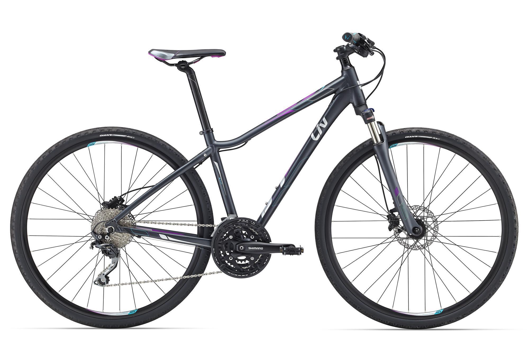 Giant Rove 1 Disc (2016)Дорожные<br>Если взять скорость шоссейного велосипеда, совместить ее с комфортом горного, добавить туда специально разработанную женскую геометрию Liv от Giant и красивый внешний вид, то получится отличный женский велосипед – Giant Rove. На своих больших колесах 700с он оказался очень скоростным, не потеряв в маневренности и удобстве. Рама разработана с учетом нюансов женского строения, ее также сделали очень легкой, в этом помог специальный алюминиевый сплав ALUXX.<br>Чтобы сделать его еще более приятным для любого катания, Rove 1 Disc оснастили амортизационной вилкой с блокировкой, переключением на 30 скоростей Shimano Deore, мощной дисковой гидравликой, которая безотказно работает в любых условиях, и резиной с антипрокольным покрытием, дабы избежать неприятностей на дорогах. Отличное сочетание красоты, удобства и функциональности.<br>