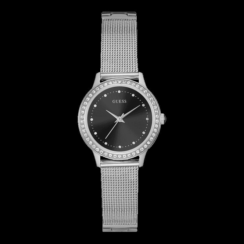 GUESS W0647L5 - женские наручные часы из коллекции IconicGUESS<br><br><br>Бренд: GUESS<br>Модель: GUESS W0647L5<br>Артикул: W0647L5<br>Вариант артикула: None<br>Коллекция: Iconic<br>Подколлекция: None<br>Страна: США<br>Пол: женские<br>Тип механизма: кварцевые<br>Механизм: None<br>Количество камней: None<br>Автоподзавод: None<br>Источник энергии: от батарейки<br>Срок службы элемента питания: None<br>Дисплей: стрелки<br>Цифры: отсутствуют<br>Водозащита: WR 30<br>Противоударные: None<br>Материал корпуса: нерж. сталь<br>Материал браслета: нерж. сталь<br>Материал безеля: None<br>Стекло: минеральное<br>Антибликовое покрытие: None<br>Цвет корпуса: серебро<br>Цвет браслета: серебро<br>Цвет циферблата: черный<br>Цвет безеля: None<br>Размеры: 30x8 мм<br>Диаметр: None<br>Диаметр корпуса: None<br>Толщина: None<br>Ширина ремешка: None<br>Вес: None<br>Спорт-функции: None<br>Подсветка: None<br>Вставка: None<br>Отображение даты: None<br>Хронограф: None<br>Таймер: None<br>Термометр: None<br>Хронометр: None<br>GPS: None<br>Радиосинхронизация: None<br>Барометр: None<br>Скелетон: None<br>Дополнительная информация: None<br>Дополнительные функции: None