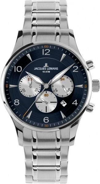 Jacques Lemans 1-1654K - мужские наручные часы из коллекции LondonJacques Lemans<br><br><br>Бренд: Jacques Lemans<br>Модель: Jacques Lemans 1-1654K<br>Артикул: 1-1654K<br>Вариант артикула: None<br>Коллекция: London<br>Подколлекция: None<br>Страна: Австрия<br>Пол: мужские<br>Тип механизма: кварцевые<br>Механизм: None<br>Количество камней: None<br>Автоподзавод: None<br>Источник энергии: от батарейки<br>Срок службы элемента питания: None<br>Дисплей: стрелки<br>Цифры: арабские<br>Водозащита: WR 10<br>Противоударные: None<br>Материал корпуса: нерж. сталь<br>Материал браслета: кожа<br>Материал безеля: None<br>Стекло: Crystex<br>Антибликовое покрытие: None<br>Цвет корпуса: None<br>Цвет браслета: None<br>Цвет циферблата: None<br>Цвет безеля: None<br>Размеры: 40 мм<br>Диаметр: None<br>Диаметр корпуса: None<br>Толщина: None<br>Ширина ремешка: None<br>Вес: None<br>Спорт-функции: секундомер<br>Подсветка: стрелок<br>Вставка: None<br>Отображение даты: число<br>Хронограф: есть<br>Таймер: None<br>Термометр: None<br>Хронометр: None<br>GPS: None<br>Радиосинхронизация: None<br>Барометр: None<br>Скелетон: None<br>Дополнительная информация: None<br>Дополнительные функции: None