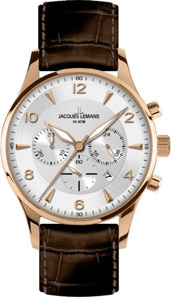 Jacques Lemans 1-1654H - мужские наручные часы из коллекции LondonJacques Lemans<br><br><br>Бренд: Jacques Lemans<br>Модель: Jacques Lemans 1-1654H<br>Артикул: 1-1654H<br>Вариант артикула: None<br>Коллекция: London<br>Подколлекция: None<br>Страна: Австрия<br>Пол: мужские<br>Тип механизма: кварцевые<br>Механизм: None<br>Количество камней: None<br>Автоподзавод: None<br>Источник энергии: от батарейки<br>Срок службы элемента питания: None<br>Дисплей: стрелки<br>Цифры: арабские<br>Водозащита: WR 10<br>Противоударные: None<br>Материал корпуса: нерж. сталь, IP покрытие: позолота (полное)<br>Материал браслета: кожа<br>Материал безеля: None<br>Стекло: Crystex<br>Антибликовое покрытие: None<br>Цвет корпуса: None<br>Цвет браслета: None<br>Цвет циферблата: None<br>Цвет безеля: None<br>Размеры: 40 мм<br>Диаметр: None<br>Диаметр корпуса: None<br>Толщина: None<br>Ширина ремешка: None<br>Вес: None<br>Спорт-функции: секундомер<br>Подсветка: стрелок<br>Вставка: None<br>Отображение даты: число<br>Хронограф: есть<br>Таймер: None<br>Термометр: None<br>Хронометр: None<br>GPS: None<br>Радиосинхронизация: None<br>Барометр: None<br>Скелетон: None<br>Дополнительная информация: None<br>Дополнительные функции: None