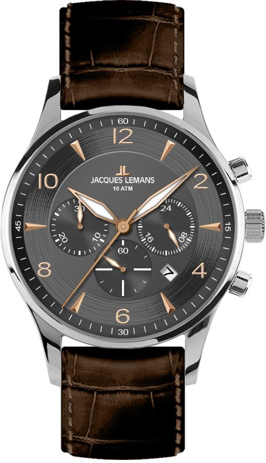 Jacques Lemans 1-1654F - мужские наручные часы из коллекции LondonJacques Lemans<br><br><br>Бренд: Jacques Lemans<br>Модель: Jacques Lemans 1-1654F<br>Артикул: 1-1654F<br>Вариант артикула: None<br>Коллекция: London<br>Подколлекция: None<br>Страна: Австрия<br>Пол: мужские<br>Тип механизма: кварцевые<br>Механизм: None<br>Количество камней: None<br>Автоподзавод: None<br>Источник энергии: от батарейки<br>Срок службы элемента питания: None<br>Дисплей: стрелки<br>Цифры: арабские<br>Водозащита: WR 10<br>Противоударные: None<br>Материал корпуса: нерж. сталь<br>Материал браслета: кожа<br>Материал безеля: None<br>Стекло: Crystex<br>Антибликовое покрытие: None<br>Цвет корпуса: None<br>Цвет браслета: None<br>Цвет циферблата: None<br>Цвет безеля: None<br>Размеры: 40 мм<br>Диаметр: None<br>Диаметр корпуса: None<br>Толщина: None<br>Ширина ремешка: None<br>Вес: None<br>Спорт-функции: секундомер<br>Подсветка: стрелок<br>Вставка: None<br>Отображение даты: число<br>Хронограф: есть<br>Таймер: None<br>Термометр: None<br>Хронометр: None<br>GPS: None<br>Радиосинхронизация: None<br>Барометр: None<br>Скелетон: None<br>Дополнительная информация: None<br>Дополнительные функции: None