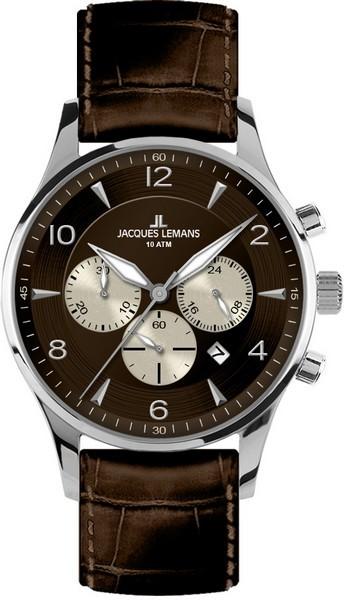 Jacques Lemans 1-1654D - мужские наручные часы из коллекции LondonJacques Lemans<br><br><br>Бренд: Jacques Lemans<br>Модель: Jacques Lemans 1-1654D<br>Артикул: 1-1654D<br>Вариант артикула: None<br>Коллекция: London<br>Подколлекция: None<br>Страна: Австрия<br>Пол: мужские<br>Тип механизма: кварцевые<br>Механизм: None<br>Количество камней: None<br>Автоподзавод: None<br>Источник энергии: от батарейки<br>Срок службы элемента питания: None<br>Дисплей: стрелки<br>Цифры: арабские<br>Водозащита: WR 10<br>Противоударные: None<br>Материал корпуса: нерж. сталь<br>Материал браслета: кожа<br>Материал безеля: None<br>Стекло: Crystex<br>Антибликовое покрытие: None<br>Цвет корпуса: None<br>Цвет браслета: None<br>Цвет циферблата: None<br>Цвет безеля: None<br>Размеры: 40 мм<br>Диаметр: None<br>Диаметр корпуса: None<br>Толщина: None<br>Ширина ремешка: None<br>Вес: None<br>Спорт-функции: секундомер<br>Подсветка: стрелок<br>Вставка: None<br>Отображение даты: число<br>Хронограф: есть<br>Таймер: None<br>Термометр: None<br>Хронометр: None<br>GPS: None<br>Радиосинхронизация: None<br>Барометр: None<br>Скелетон: None<br>Дополнительная информация: None<br>Дополнительные функции: None