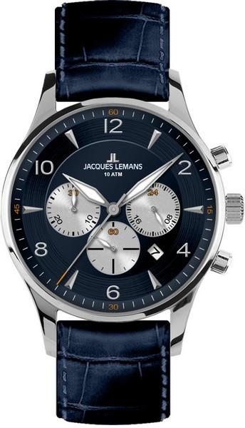 Jacques Lemans 1-1654C - мужские наручные часы из коллекции LondonJacques Lemans<br><br><br>Бренд: Jacques Lemans<br>Модель: Jacques Lemans 1-1654C<br>Артикул: 1-1654C<br>Вариант артикула: None<br>Коллекция: London<br>Подколлекция: None<br>Страна: Австрия<br>Пол: мужские<br>Тип механизма: кварцевые<br>Механизм: None<br>Количество камней: None<br>Автоподзавод: None<br>Источник энергии: от батарейки<br>Срок службы элемента питания: None<br>Дисплей: стрелки<br>Цифры: арабские<br>Водозащита: WR 10<br>Противоударные: None<br>Материал корпуса: нерж. сталь<br>Материал браслета: кожа<br>Материал безеля: None<br>Стекло: Crystex<br>Антибликовое покрытие: None<br>Цвет корпуса: None<br>Цвет браслета: None<br>Цвет циферблата: None<br>Цвет безеля: None<br>Размеры: 40 мм<br>Диаметр: None<br>Диаметр корпуса: None<br>Толщина: None<br>Ширина ремешка: None<br>Вес: None<br>Спорт-функции: секундомер<br>Подсветка: стрелок<br>Вставка: None<br>Отображение даты: число<br>Хронограф: есть<br>Таймер: None<br>Термометр: None<br>Хронометр: None<br>GPS: None<br>Радиосинхронизация: None<br>Барометр: None<br>Скелетон: None<br>Дополнительная информация: None<br>Дополнительные функции: None